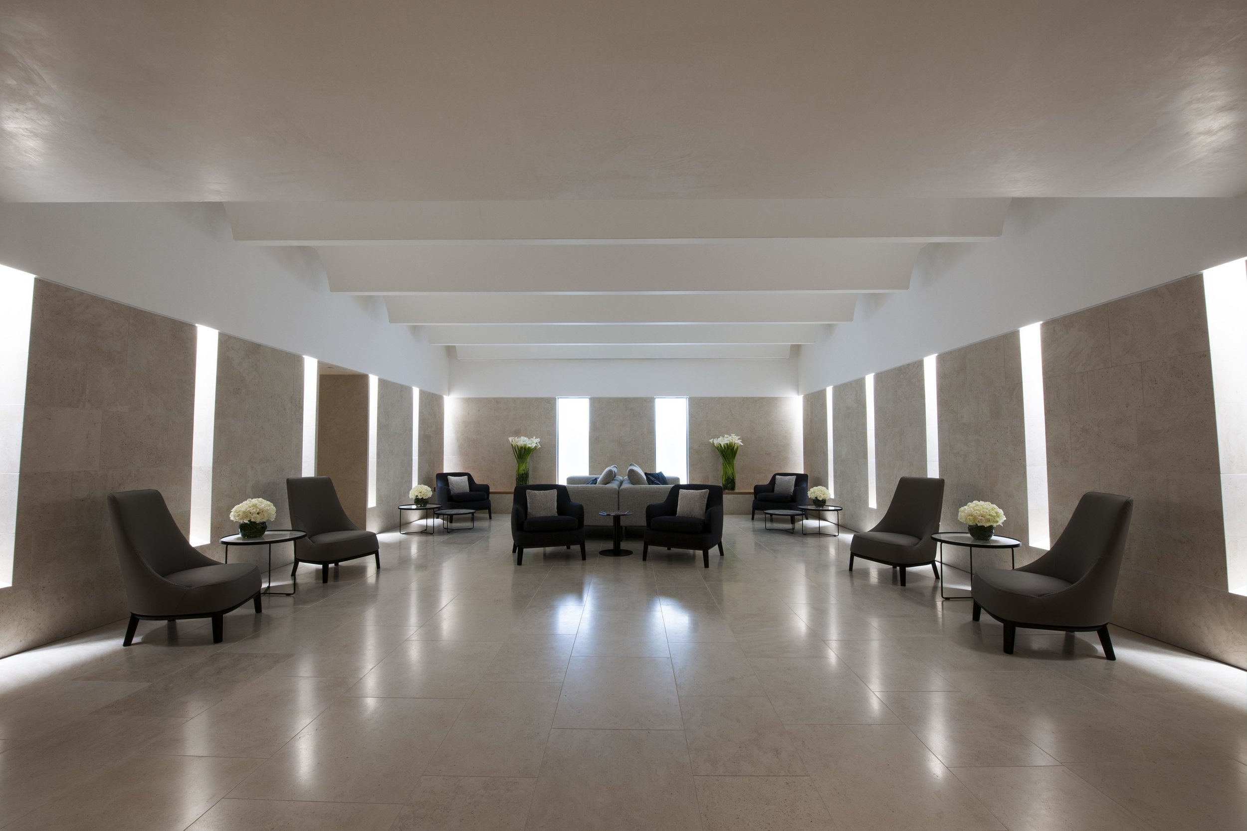 Harrods Interiors worked on a contemporary furniture scheme for the relaxation area and waiting area.