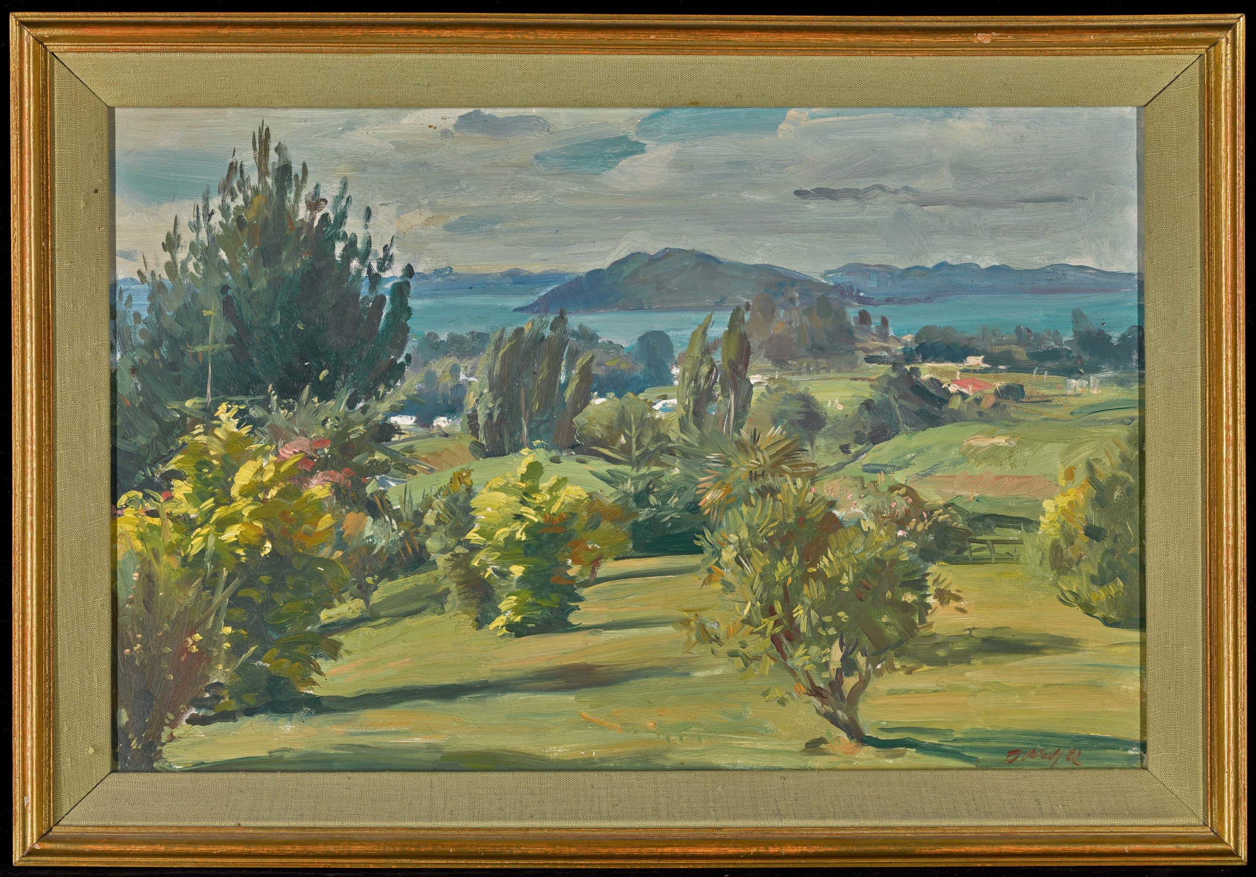 Roger Furse | 1903 - 1972 Mediterranean Landscape | Signed oil on canvas board | 31.5 by 49cm; 12½ by 19¼ in