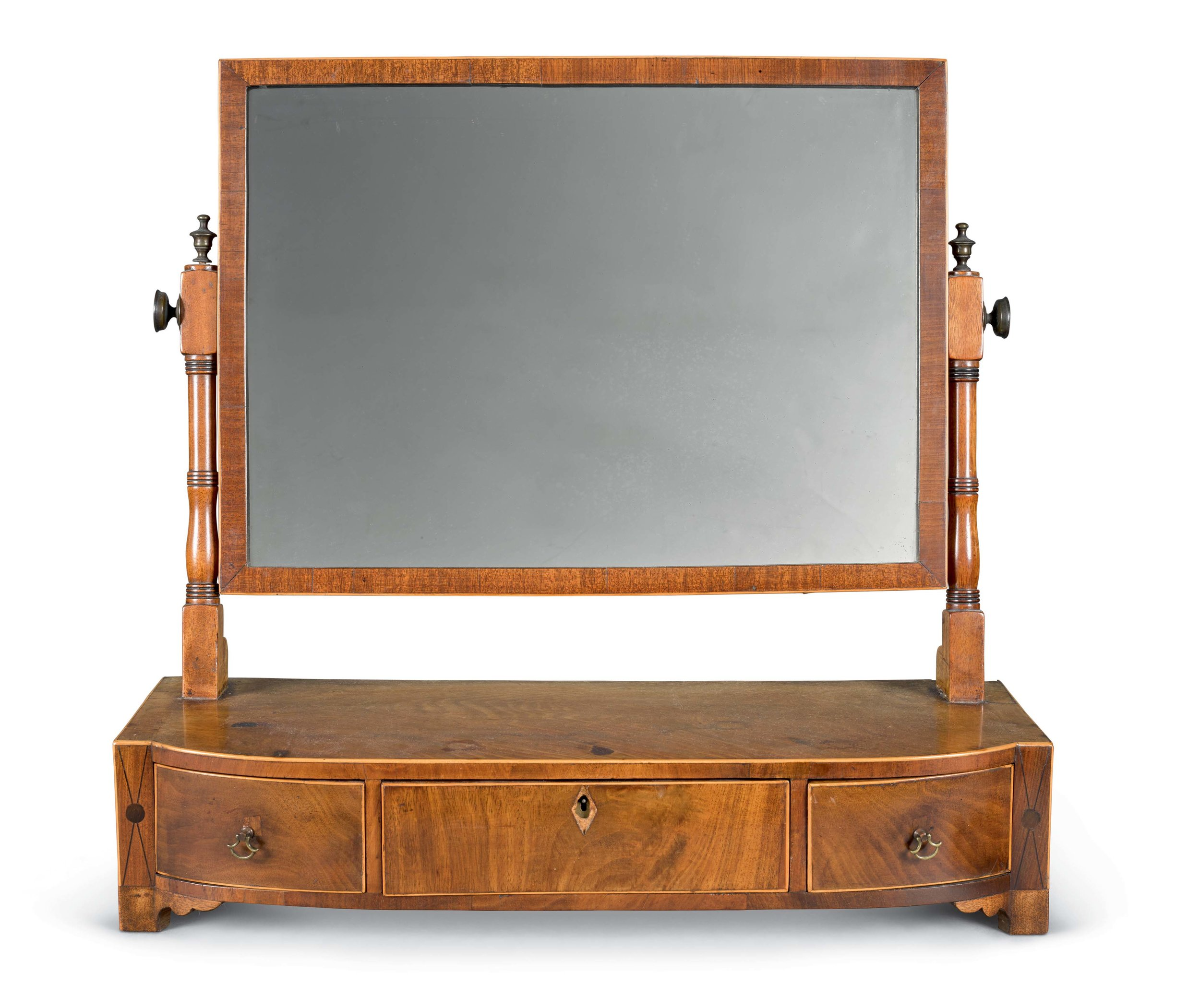 Toilet Mirror (Possibly Scottish) | Mahogany, boxwood and ebony inlay | 55.5 by 58.5 by 21cm., 21¼ by 23 by 8¼in | 19th century | Made circa 1820