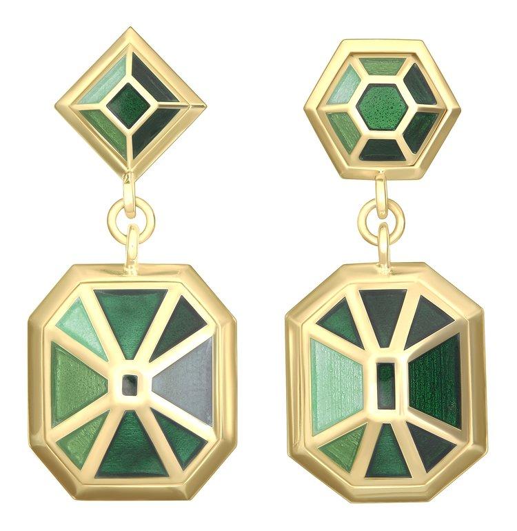 Double Bluff Earrings - Emerald Gold