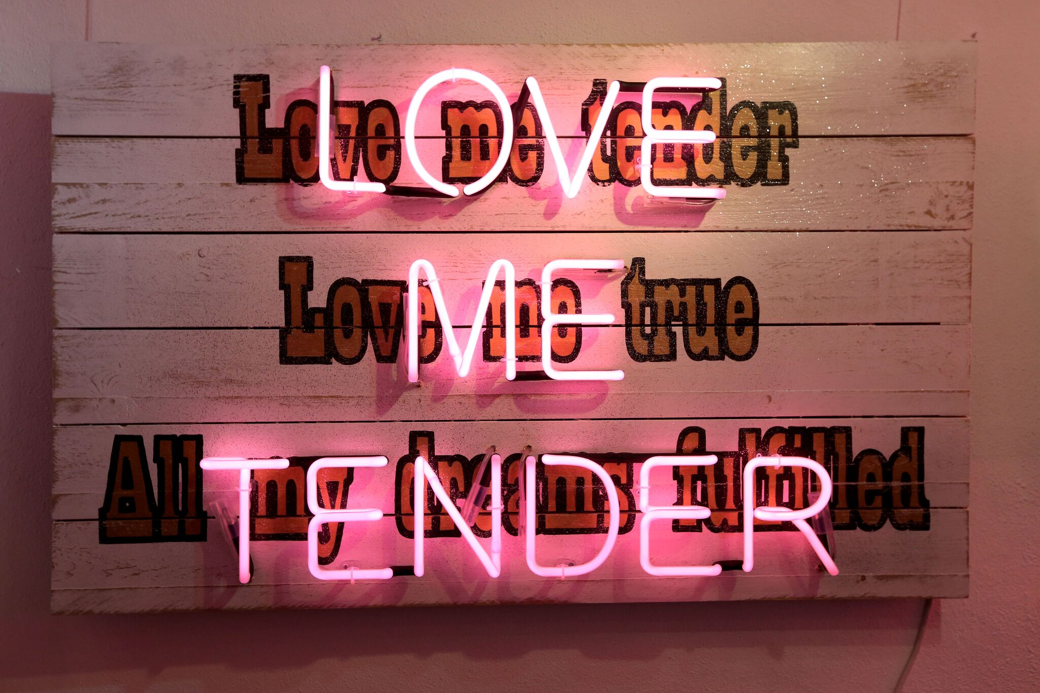 Above: Love Me Tender | Cover image:I AM KATE (2018) - both by  Illuminati Neon