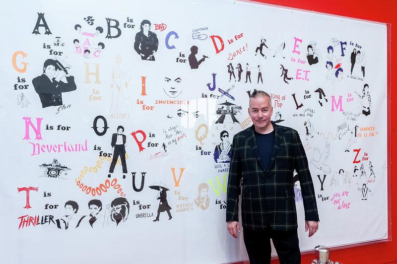 Donald Urquhart with his work, A Michael Jackson Alphabet 2017