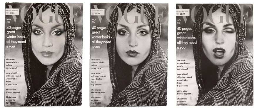 Image credit:  Cindy Sherman    Cover Girl (Vogue) , 1975/2011, 3 gelatin silver prints, 1/2 x 8 inches (each image size), 26.7 x 20.3 cm. Courtesy of the artist and Metro Pictures, New York