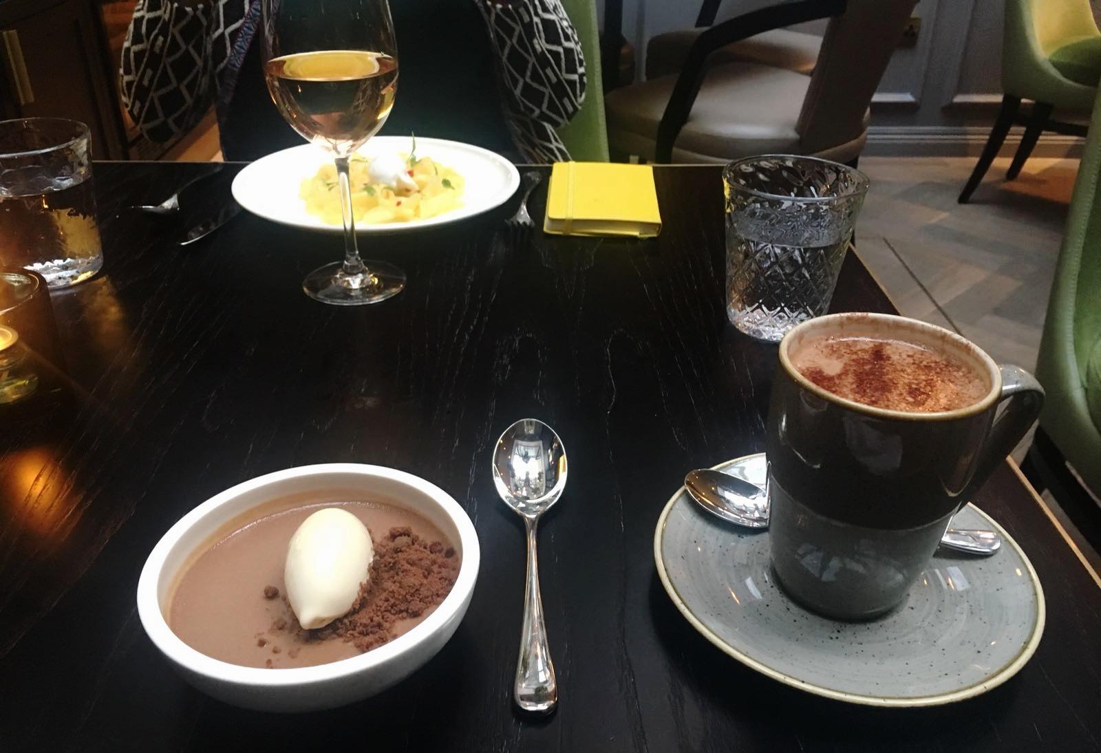 Salted caramel chocolate pot with vanilla ice cream and Avocado Soane Hot Chocolate