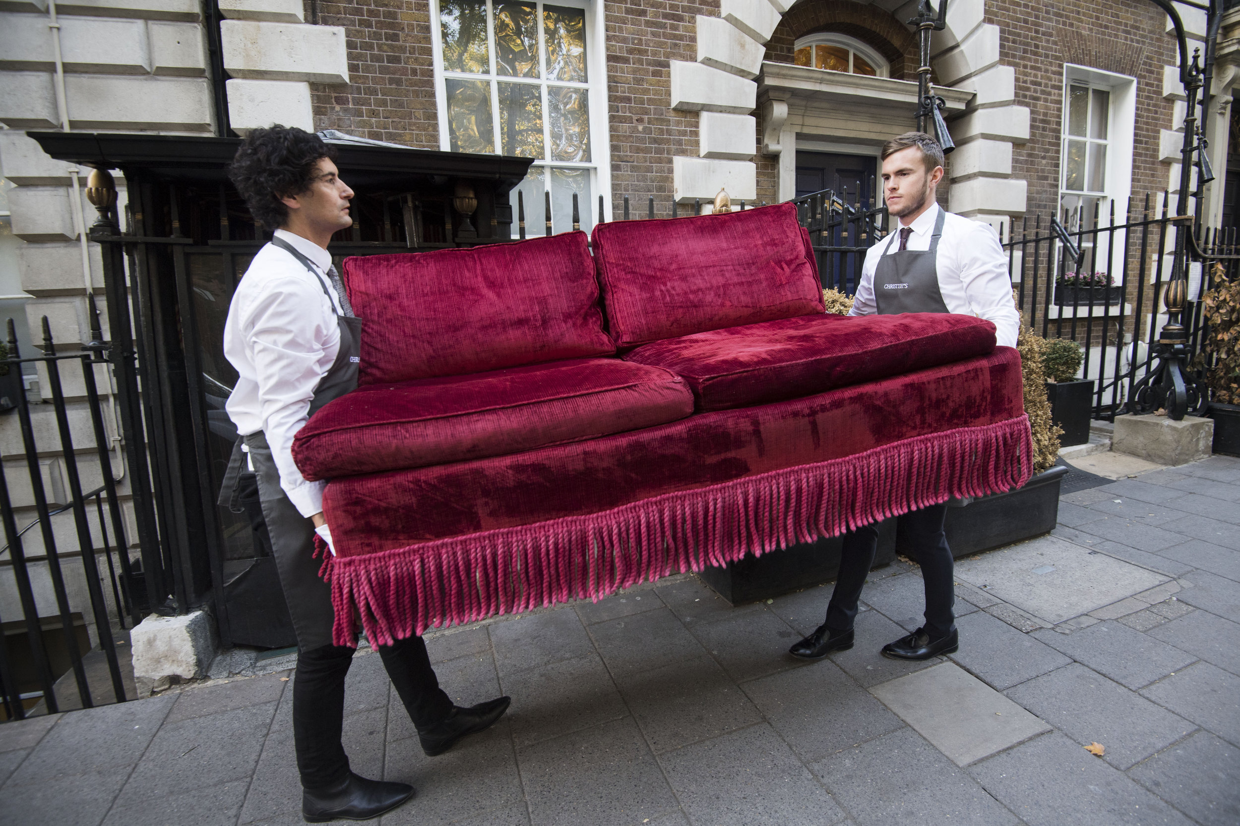 Velvet Sofa being removed from Annabel's Club