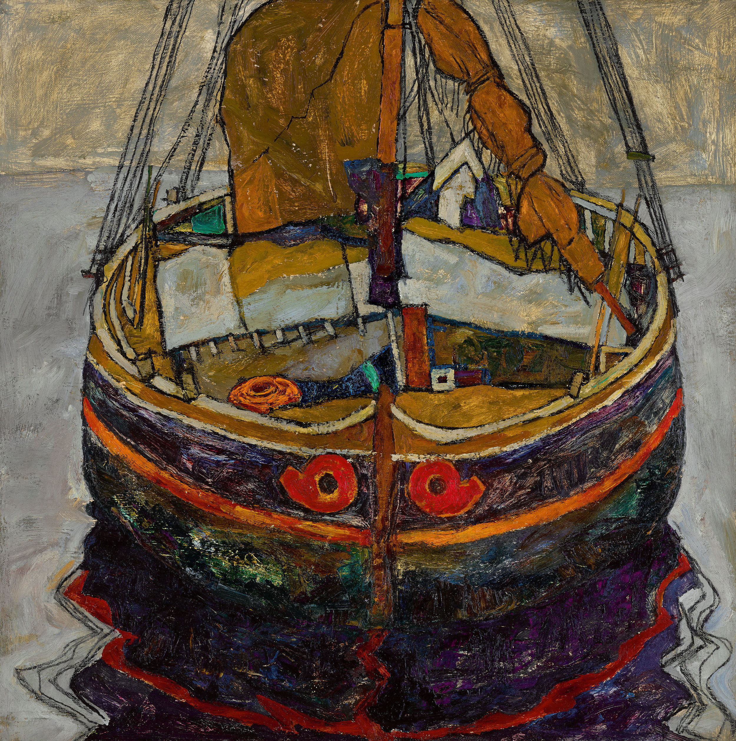 Lot 9 Egon Schiele, Triestiner Fischerboot (Trieste Fishing Boat), oil and pencil on canvas, painted in 1912, 75 by 75cm (est. £6,000,000 - 8,000,000)