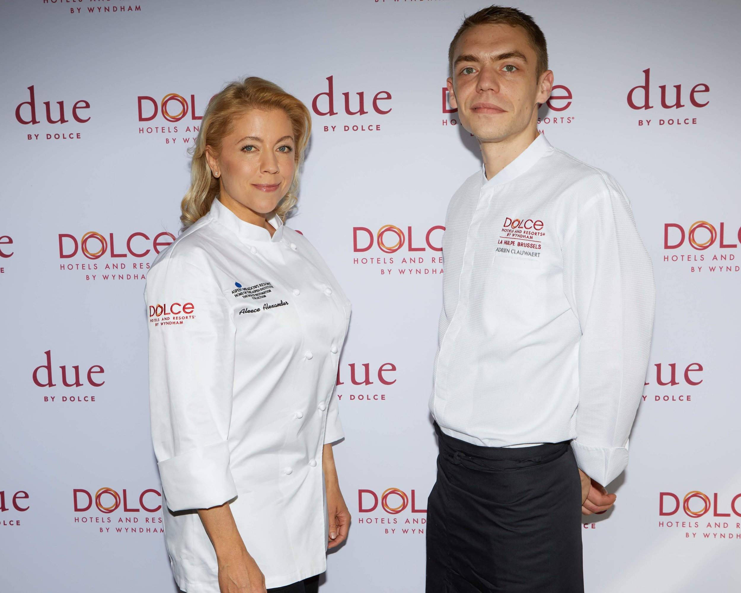 Chef Aleece Alexander of Dolce Aspen Meadows Resort and Chef Adrien Clauwaert of Dolce by Wyndham La Hulpe Brussels
