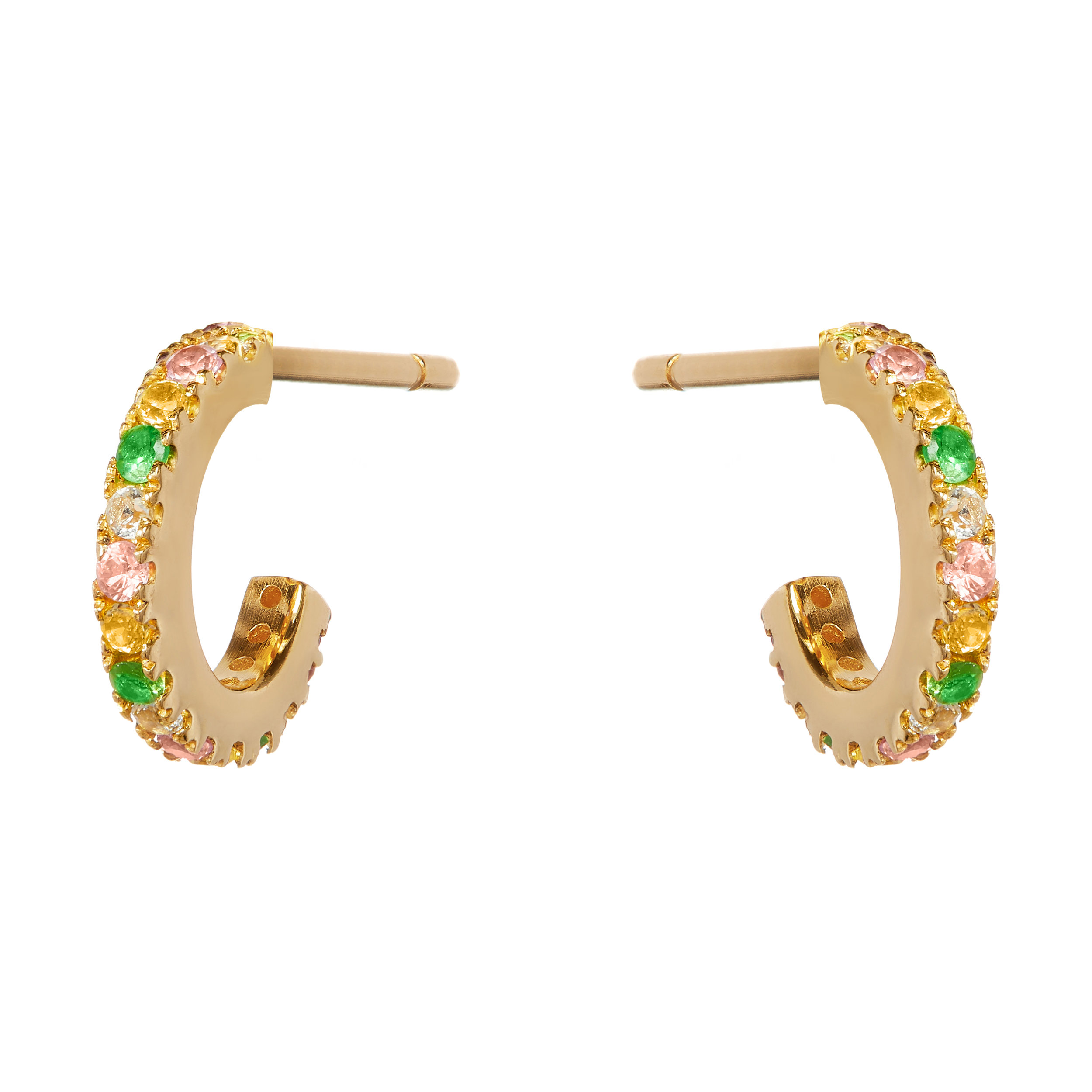 Exotic Summer, Earrings 9ct Yellow Gold Hoop Earrings Pavé Set with Multi-Coloured Stones
