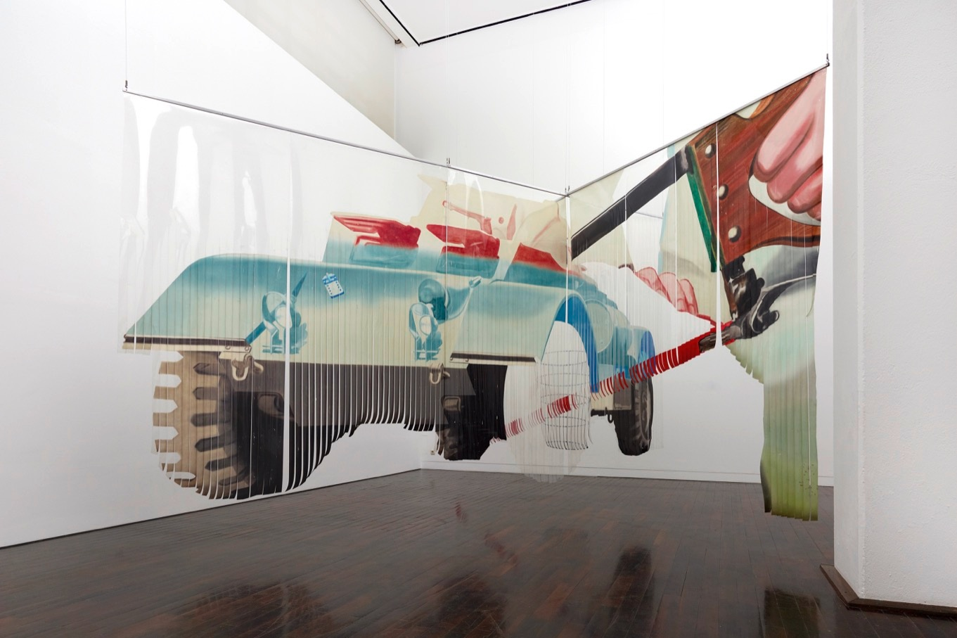James Rosenquist,  Forest Ranger , 1967. Oil on slit and shaped Mylar. Three panels (two intersecting and one freestanding), each approx: 289.6 cm (114,02 in). Courtesy Museum Ludwig, Cologne. Photo: © Rheinisches Bildarchiv, Albers, Michael