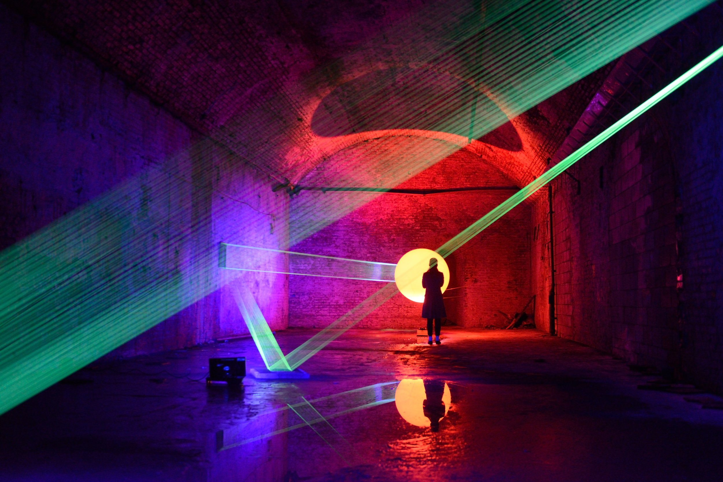 David Ogle,  08019 , Fluorescent fishing line, ultraviolet light, weather balloon, red halogen light , 2013