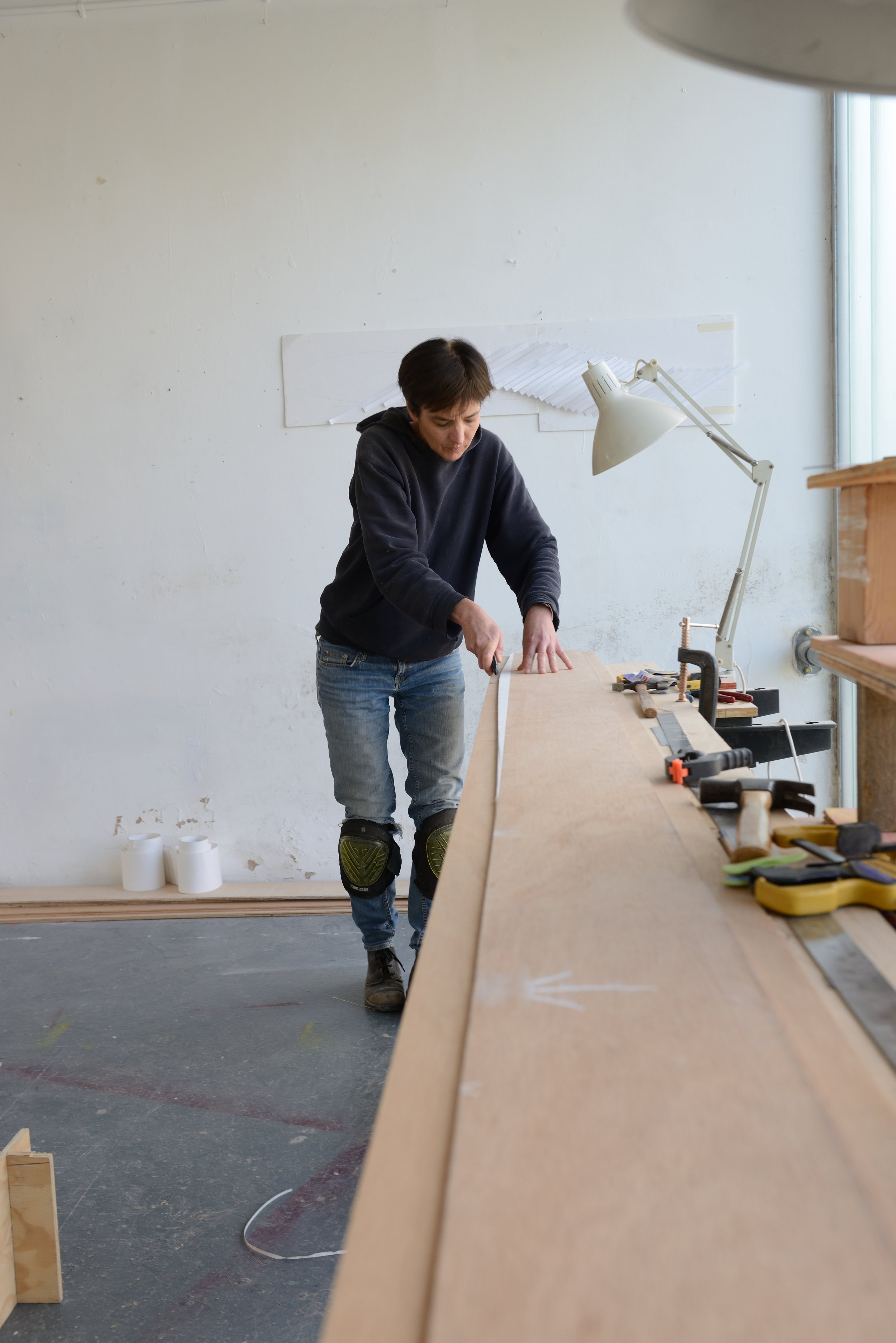 Joanna Sands in the Sculpture Shock studio, photo by AK Purkiss