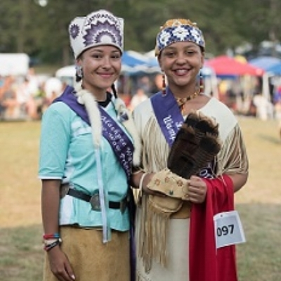 "Chenoa Peters , Mashpee Wampanoag Powwow Princess 2017-2018, with  Paris Hendricks , ""Little Miss Wampanoag"" 2017-2018"