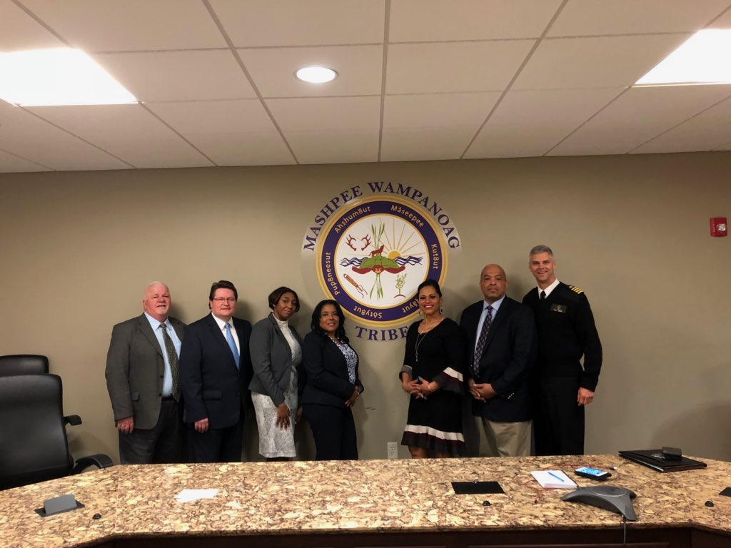 Stronger Together: (Left to right) Paul Jacobsen, HHS Region One Executive Officer.; John McGough, HHS Region One Regional Director; Taylor Bryan Turner, HUD; Desiree Hendricks-Moreno, IHS, Substance Use Disorder Case Manager; Cheryl Frye-Cromwell; Jeffrey Beard, HRSA Regional Administrator;  CAPT Christopher Bersani, Deputy Regional Administrator.