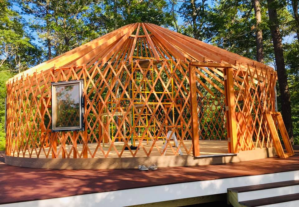 """A 706 sq. ft. yurt is currently being constructed to serve as grades 1-4 classroom and gathering space. You can help support the new Wôpanâak language elementary school at  www.wlrp.org  by clicking """"Donate"""""""