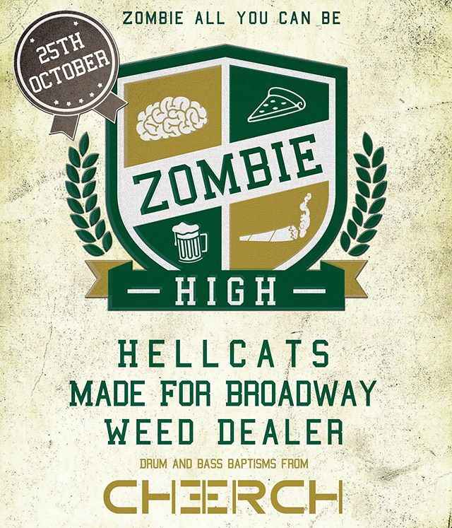 Its official! We got all the heavy hitters up for our Zombie High celebration 😍 @weedxdealerofficial @hellcatsband @cherch_za  at flippen @sognage 😍 pop on your school tie and blazer lets raaaaaaage
