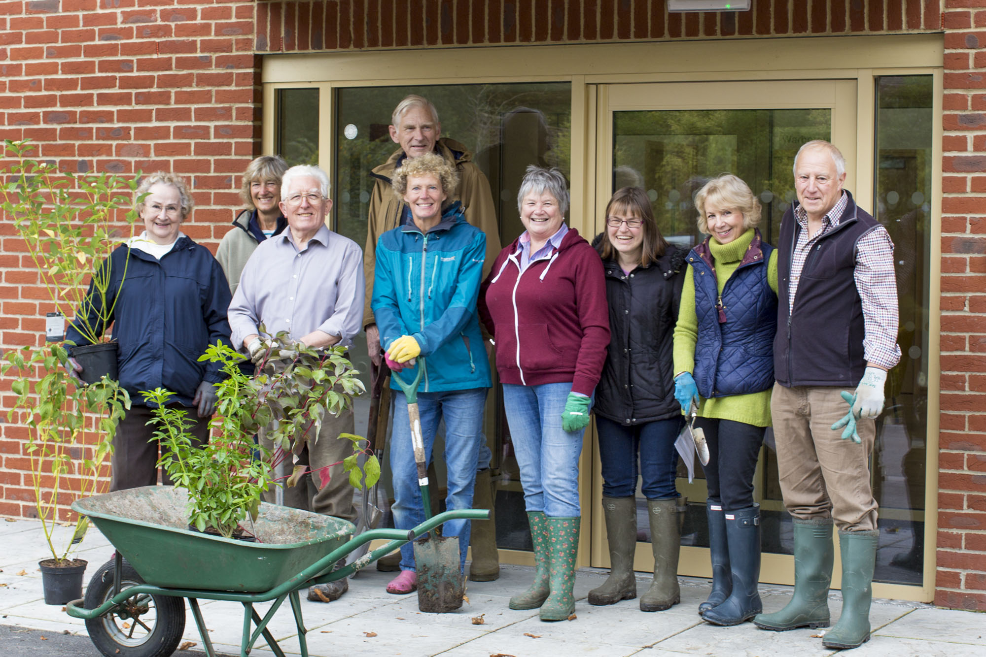 The volunteer gardening crew planting new shrubs around the village hall on the 30th Sept (2017)