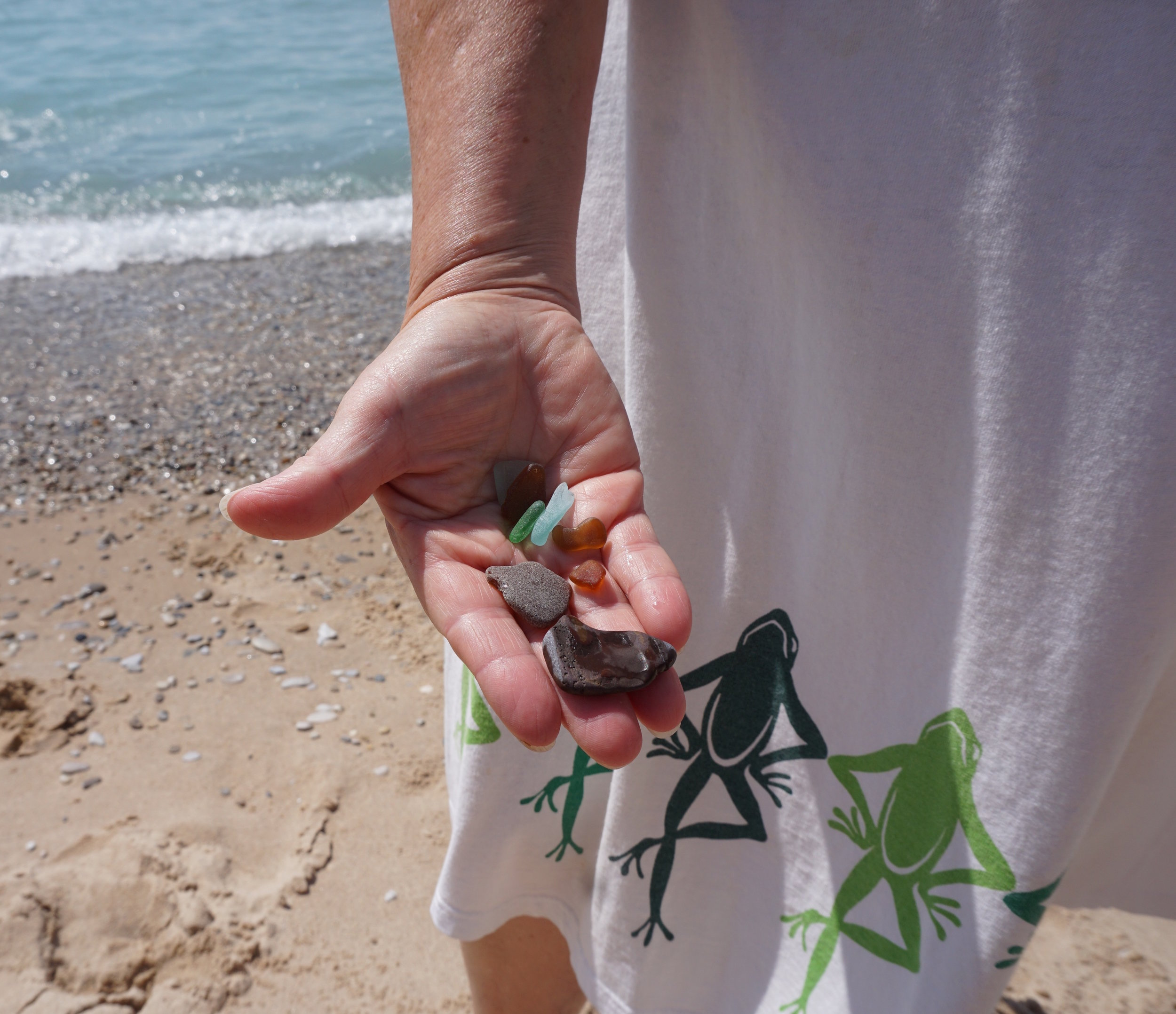Aunt Alice returns home from a beach walk with beautiful sea glass