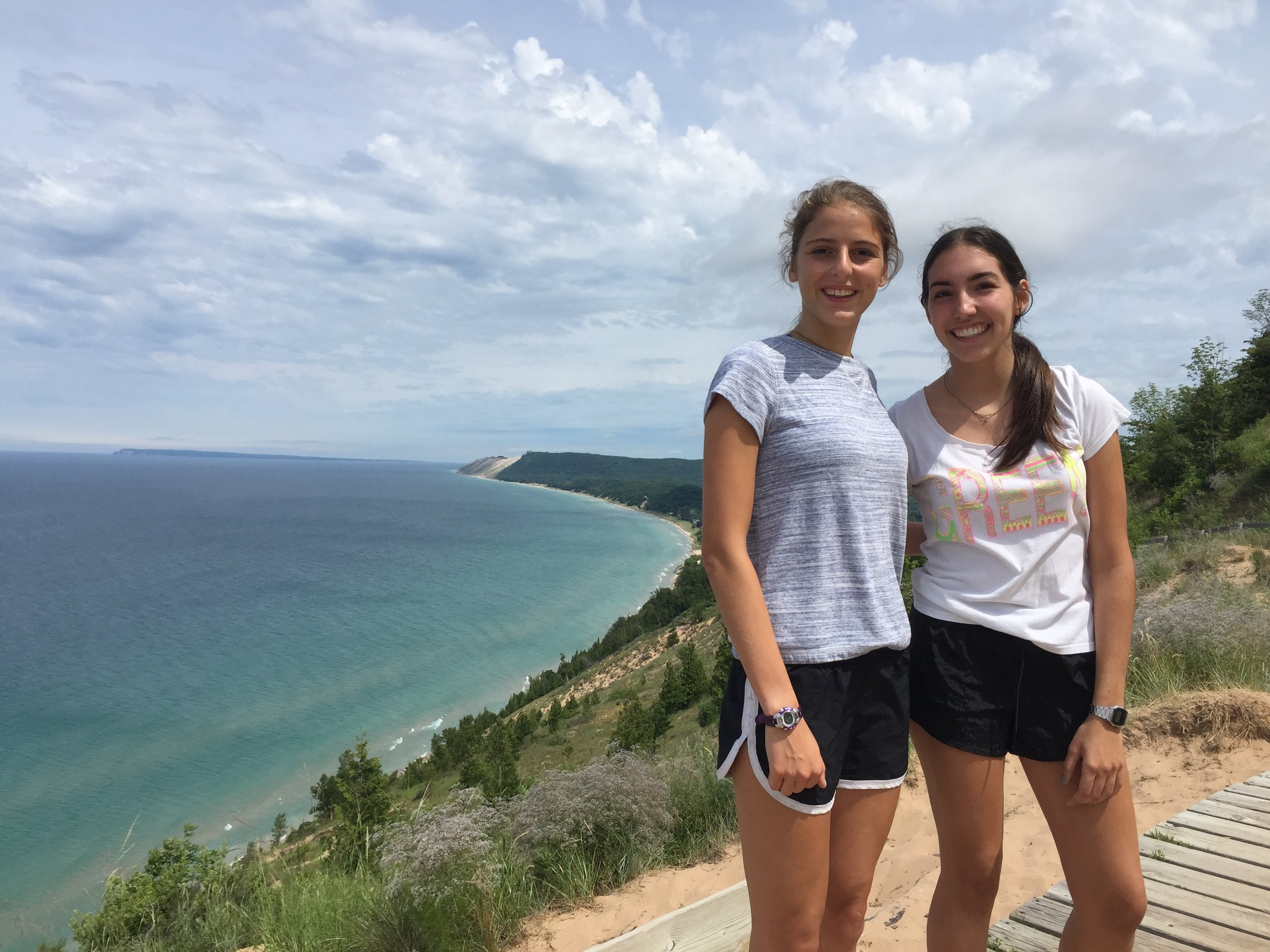 Courteney and Patty at the top of Empire Bluff, Michigan