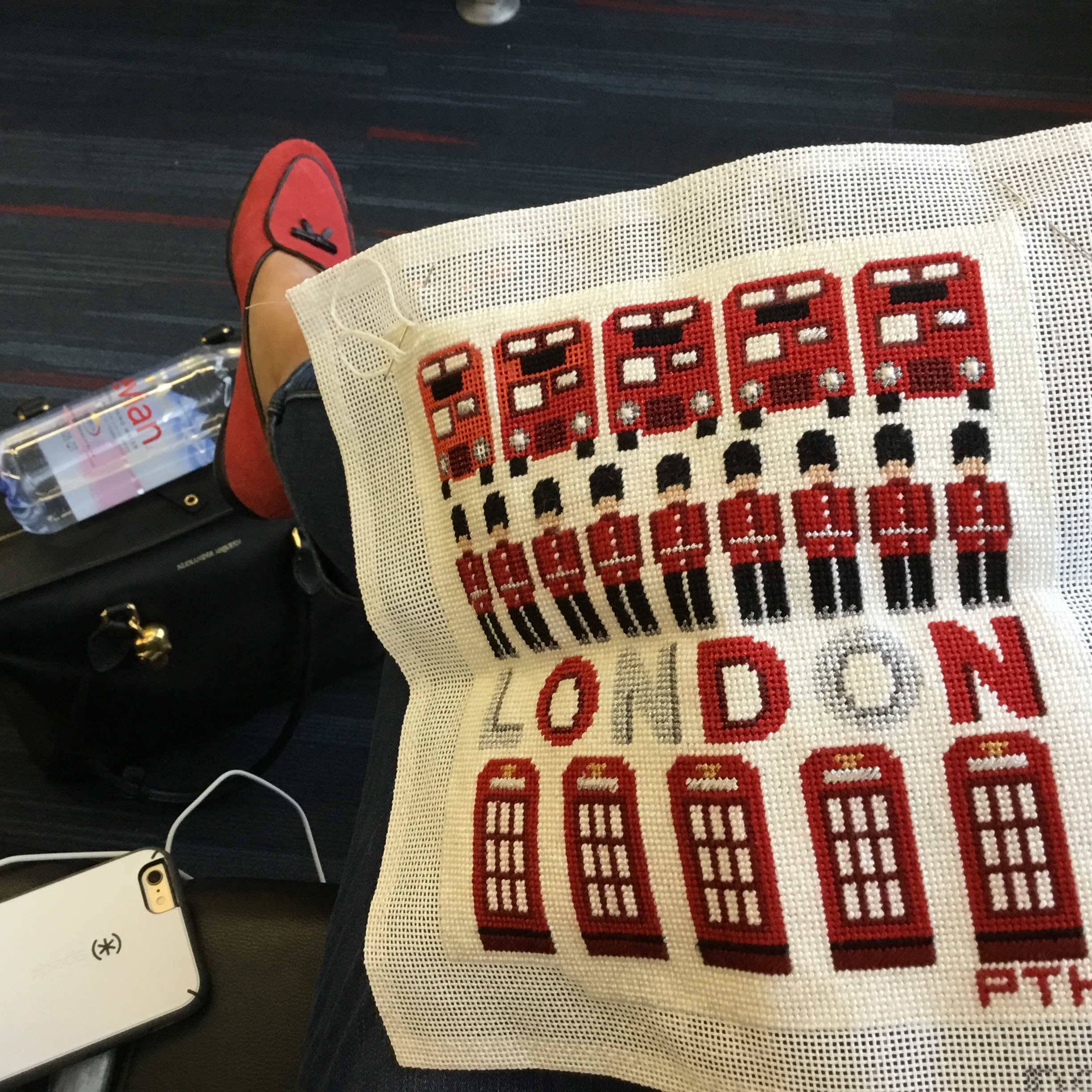This one was stitched in an airport while waiting to hear whether our son Colin got his dream job in London. He did!!