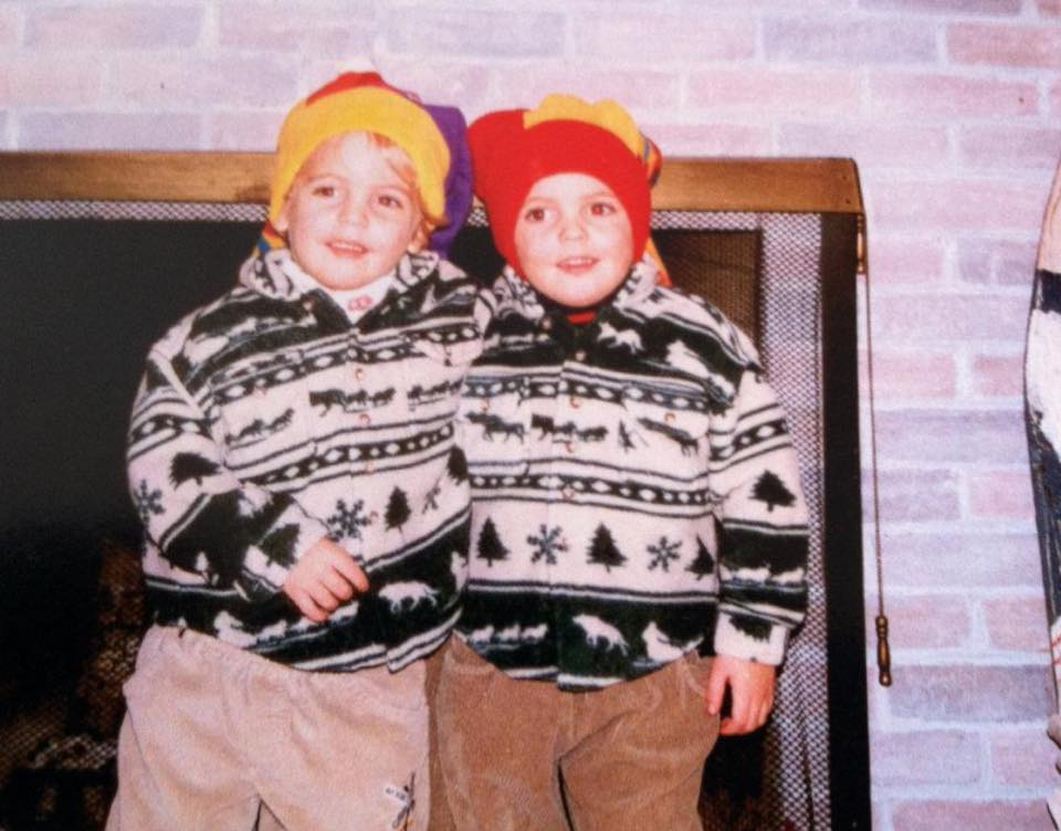 """Identical twin sons Colin (left) and Willie (right) in """"Mont"""". Weston, Vermont 1997"""