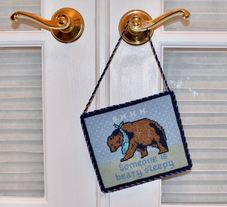 Custom needlepoint Brooke designed for the arrival of baby Bowen.