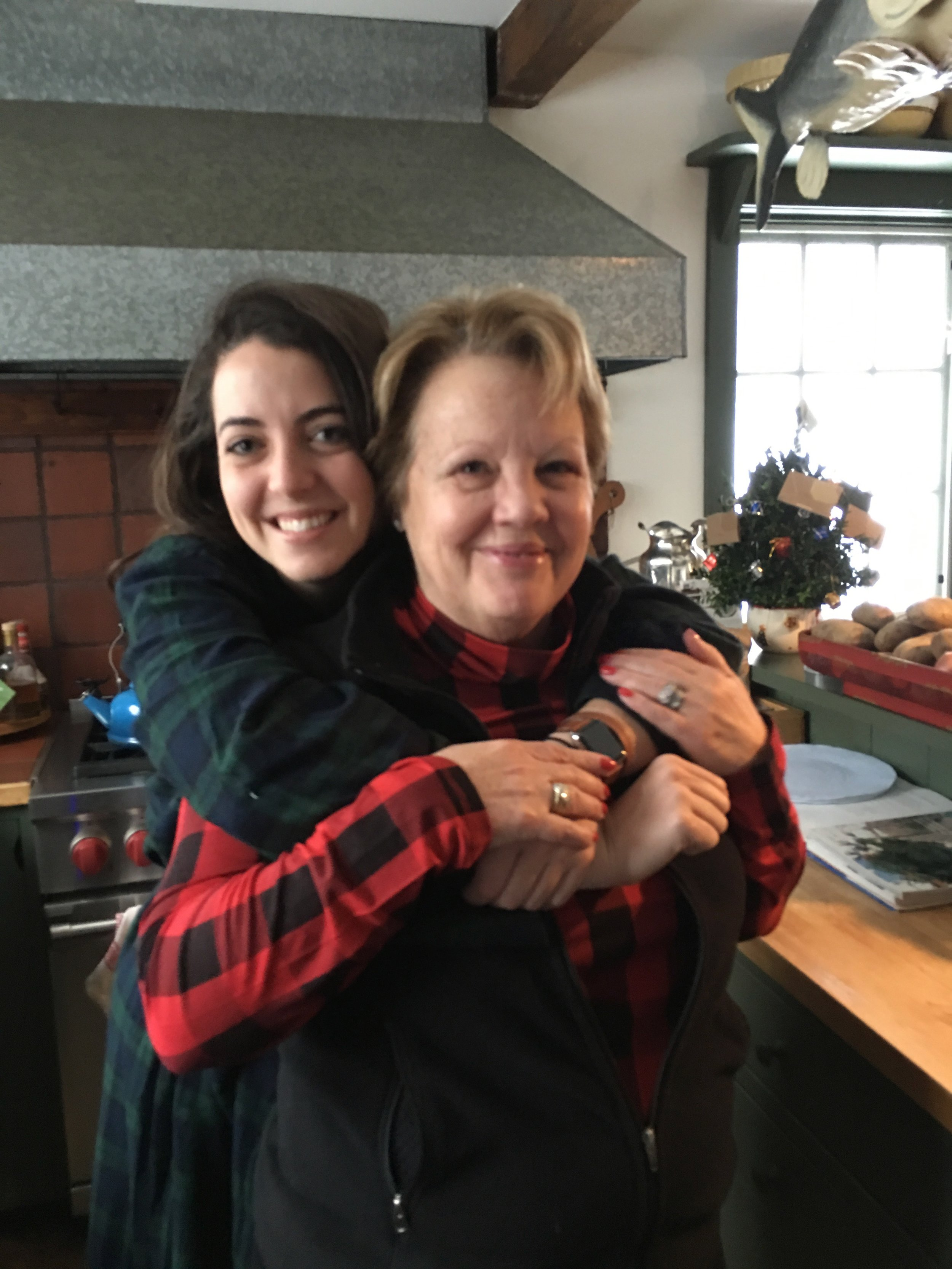 Brookie and her Aunt Puddy in the cozy kitchen