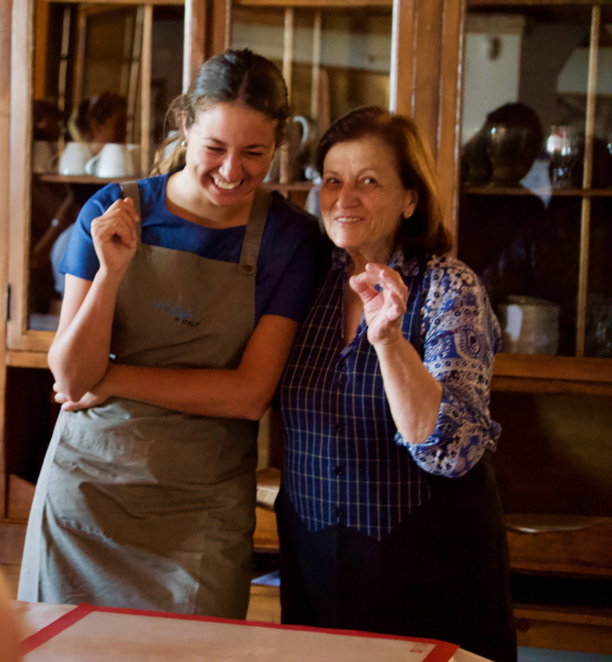 The food at Il Borghino is AMAZING. Every day we get the most fabulous multi-dish vegetarian meals. The lovely lady on the right is our head chef. The lovely lady on the left is her translator for our cooking lesson.