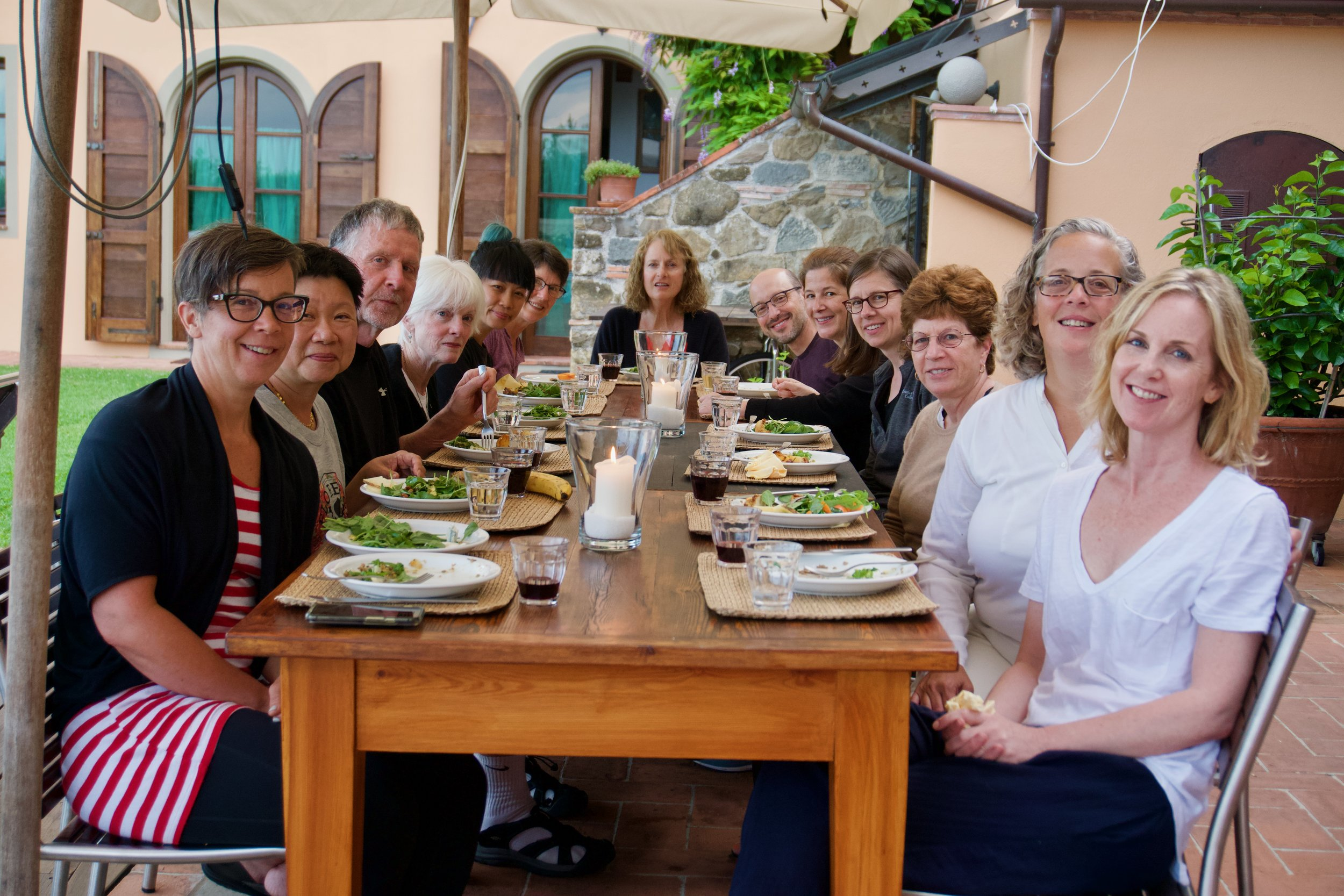 Every night our group eats a gorgeous vegetarian buffet dinner on our patio.