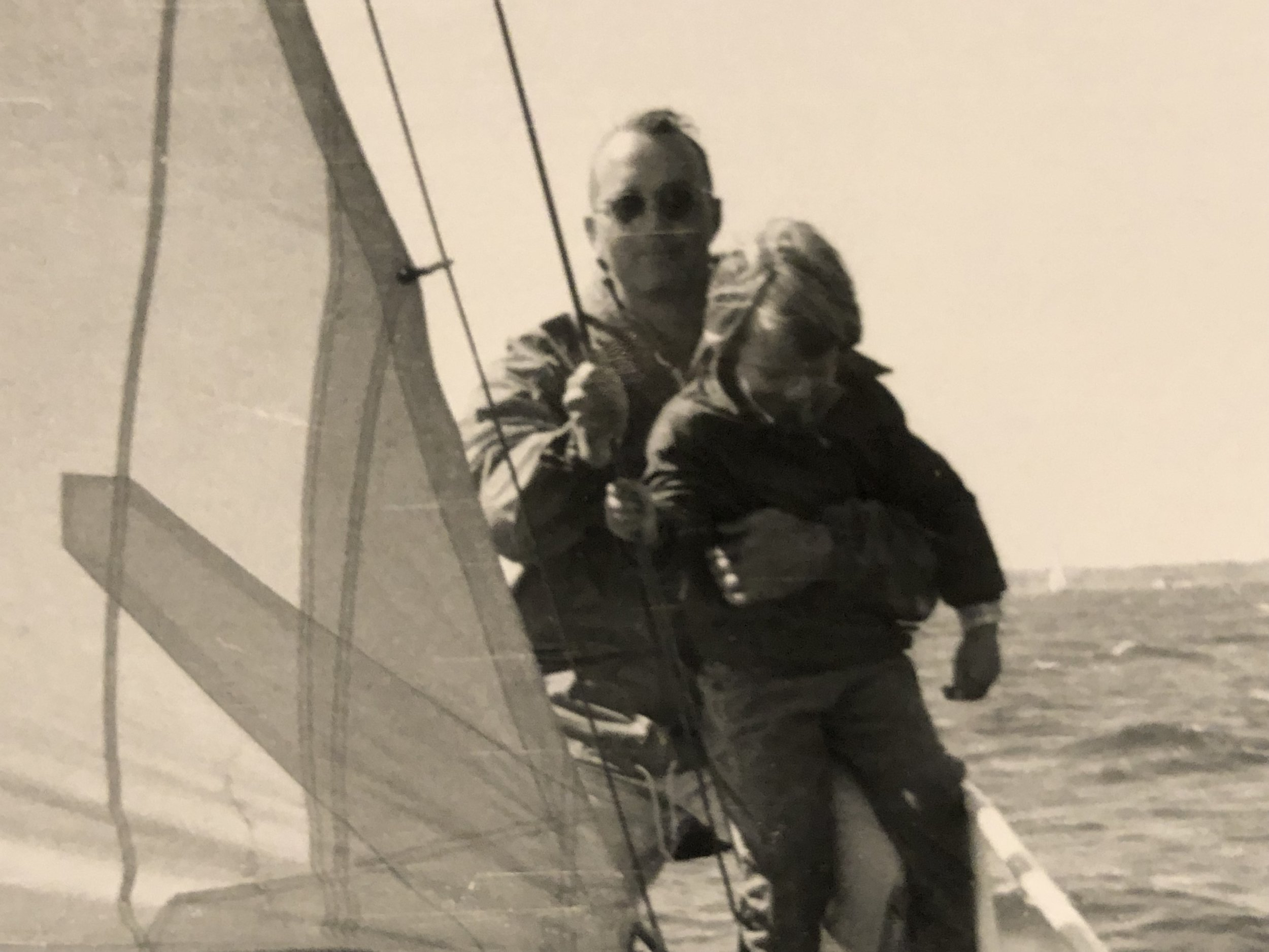 Daddy with my sister Puddy somewhere in Long Island Sound.