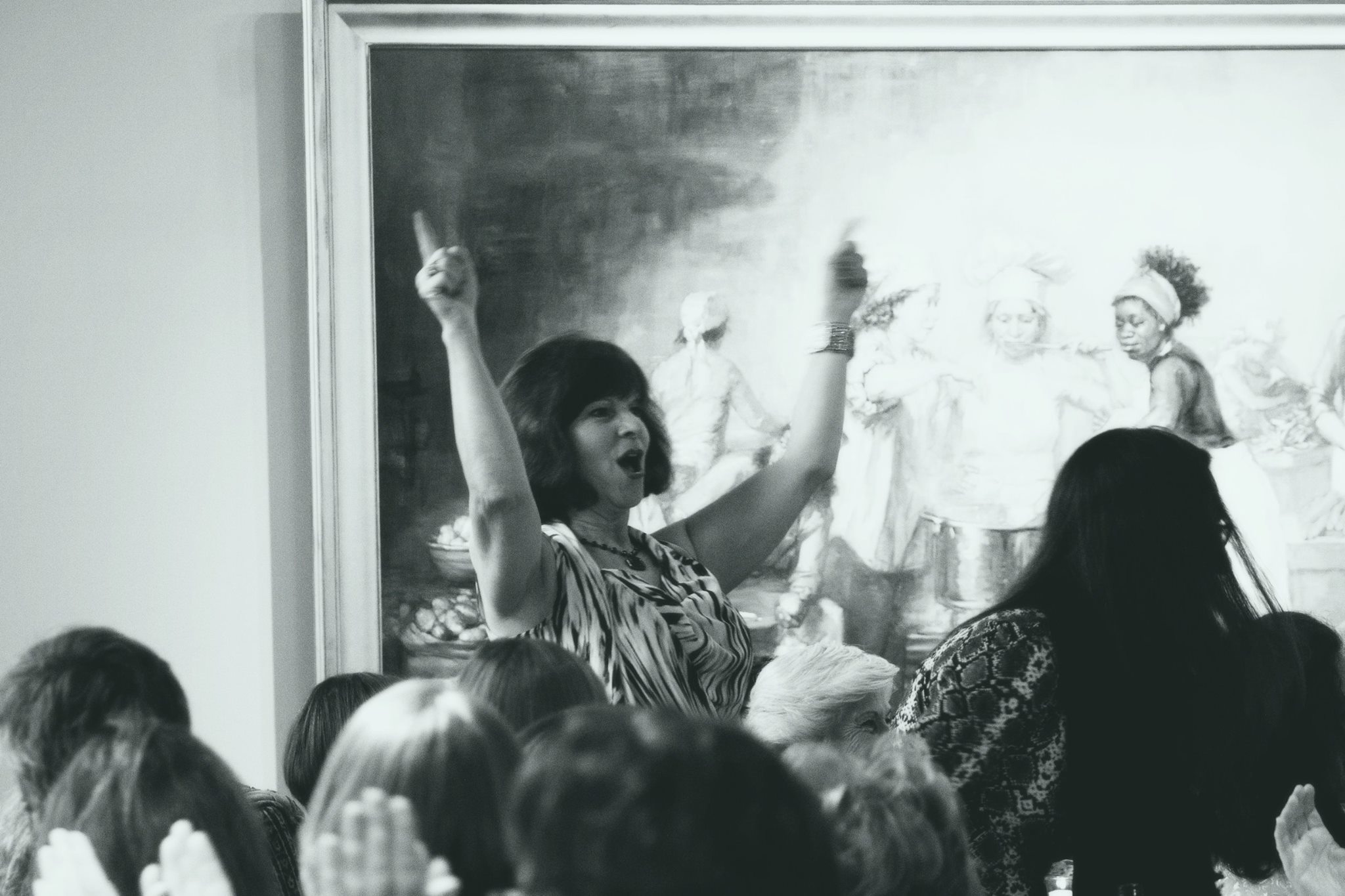 The ever glorious Lisa Helmholz-Adams, standing and addressing the crowd before the painting The Feast of Venus by Elizabeth Torak. Lisa raised an army of women to help fight Hunger in Vermont. She's just about to launch her third event this month on May 30th in Manchester, Vermont.