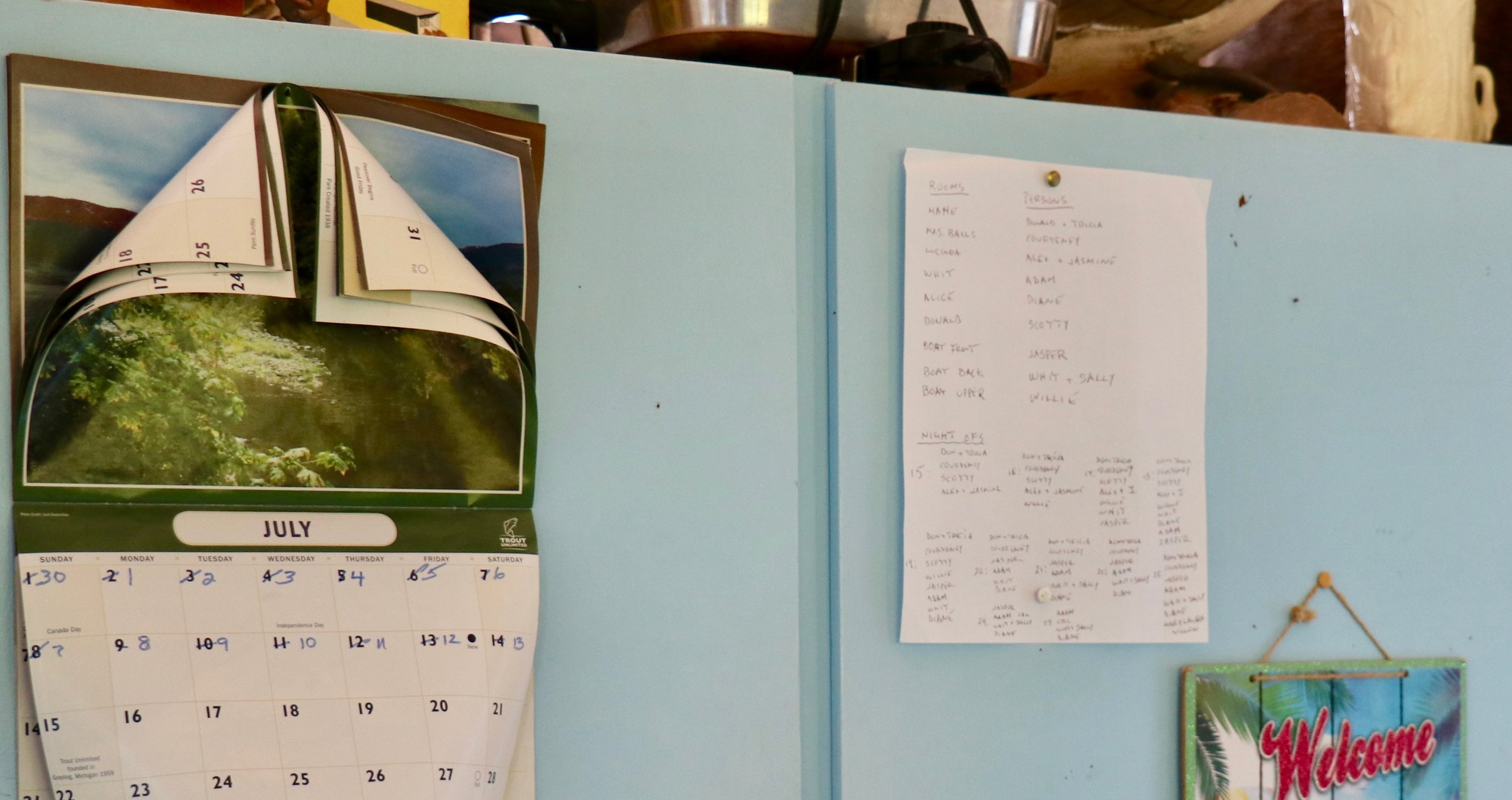 We all laughed when we arrived and found that my husband's sister had adapted the calendar left over from last year to this year! The list on the right was created by Donald, it designates which family member is assigned to which bedroom and the comings and goings of children and cousins. This fills my heart as my mother-in-law kept similar lists to show the comings and goings of her children and grandchildren. The bedroom puzzle is usually tricky as everyone has favorites and we need to disperse the snorers!