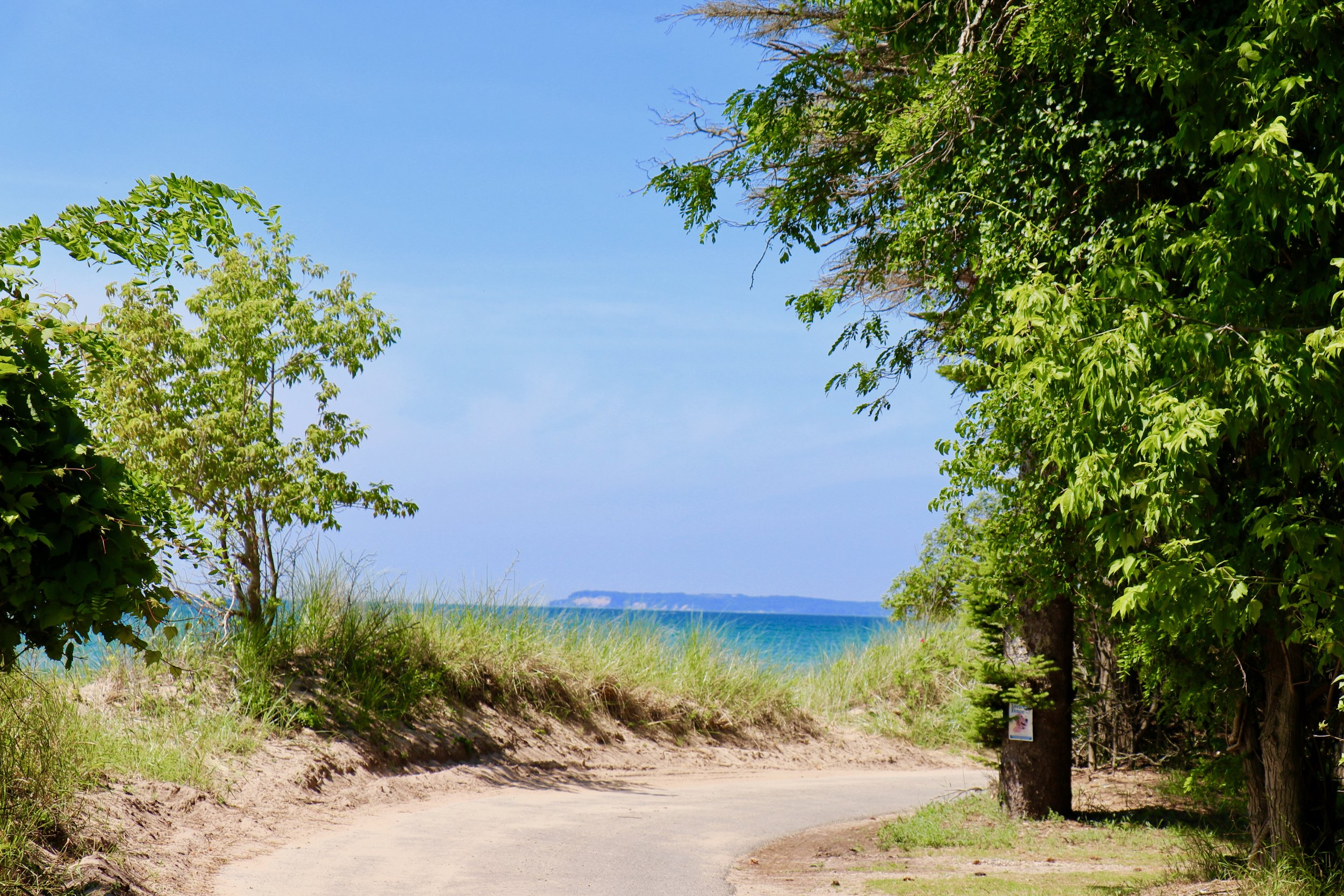 Path home with a beautiful view of Sleeping Bear Dunes.