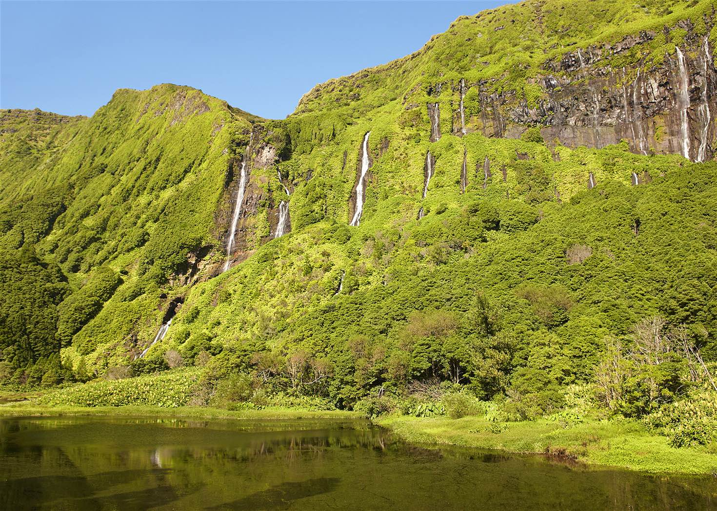 Green cliffs and waterfalls in the Azores