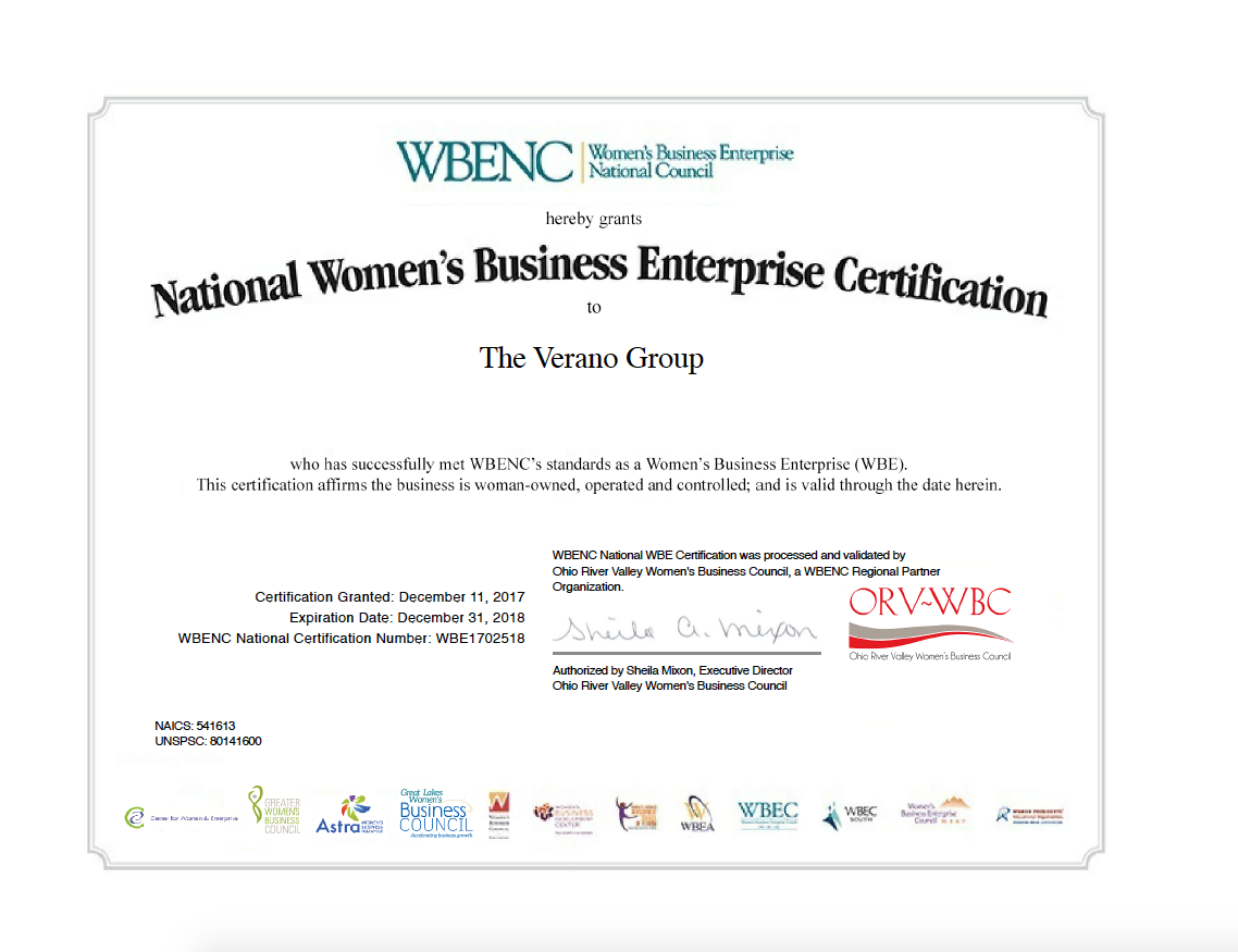 Just look at it. It's so official! Verano is now recognized as an official Women's Business Enterprise.