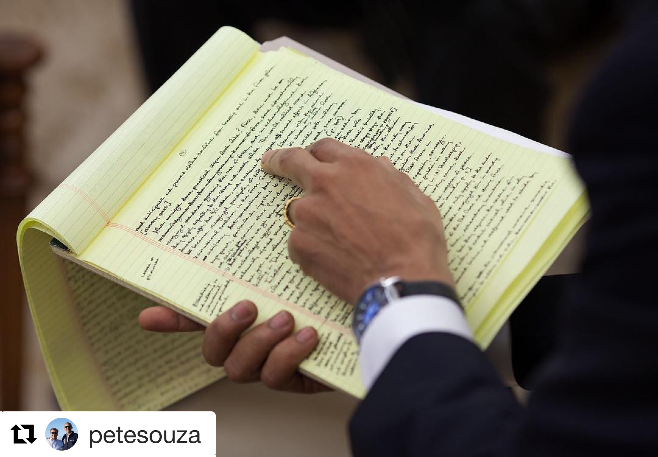 This instagram post from  Pete Souza  shows President Obama reviewing a speech. See -- even presidents like to handwrite things!