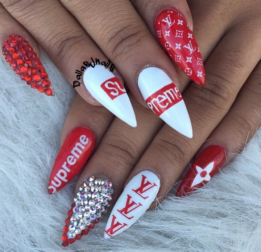 LOUIS VUITTON x SUPREME Inspired Nails
