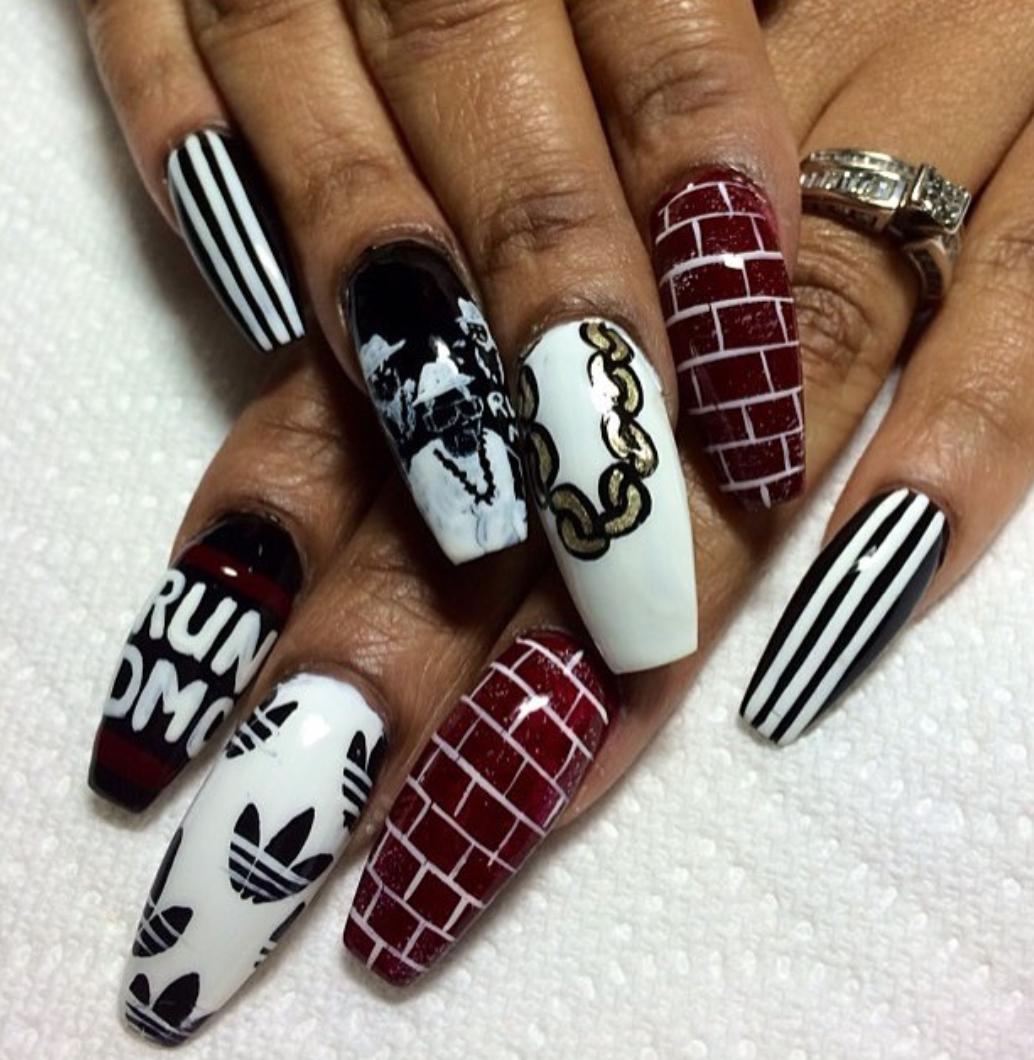 ADIDAS X RUN DMC Inspired Nails