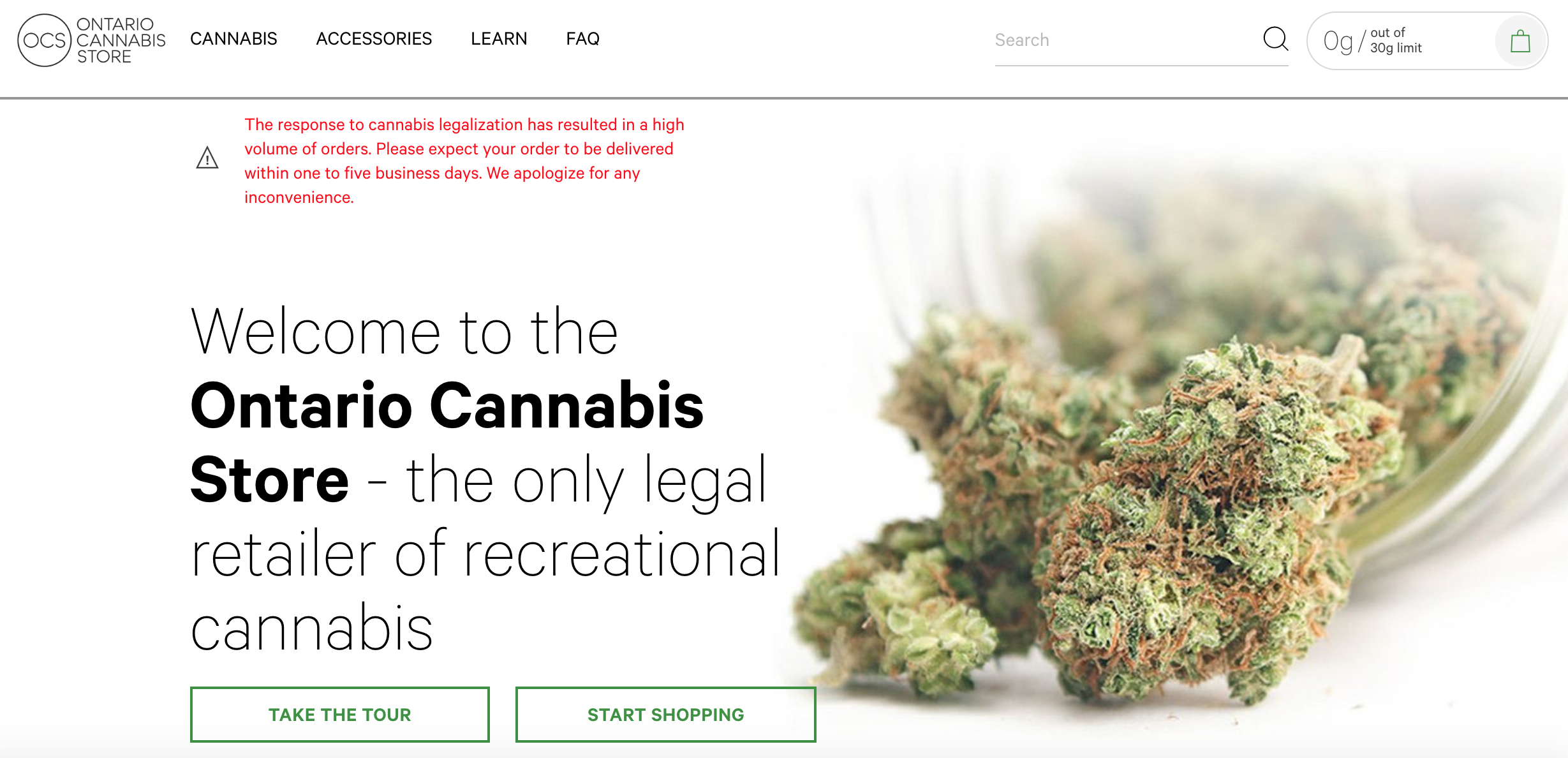 www.ocs.ca - The 'Ontario Cannabis Store' online e-commerce portal already experience high volume of orders after just launching at midnight on October 17, 2018.
