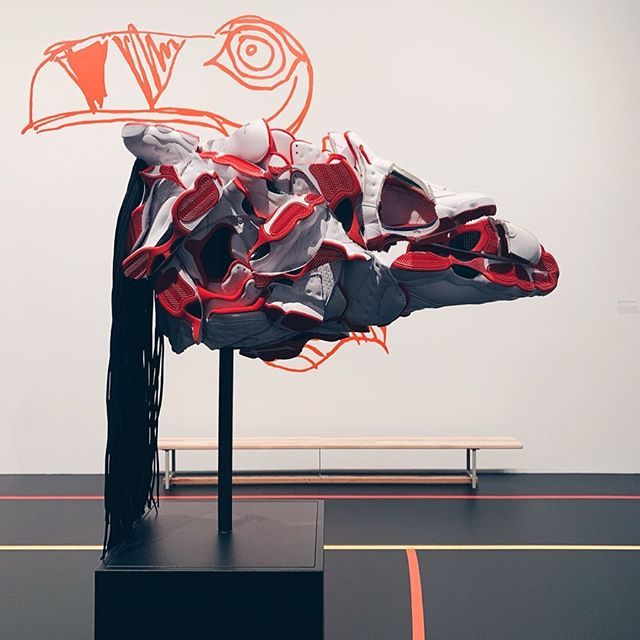 ART ✖️ OBJECT 👟 Canadian artist Brian Jungen's sculpture series using Air Jordan's reimagined as indigenous headdresses  Exhibit: BRIAN JUNGEN FRIENDSHIP CENTRE at the @agotoronto until Aug 25th ✖️✖️ #JUNGENAGO #AIRJORDAN #BRIANJUNGEN
