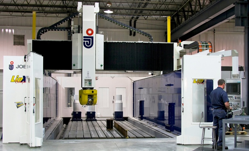 """JOBS Linx High Speed, 5-axis Gantry Mill   322""""X, 143""""Y, 59""""Z, 215 deg A, 400 deg C  Spindle 1: 48 HP @ 27,000 RPM  Spindle 2: 48 HB @ 15,000 RPM  Linear Motors on X,Y,Z, Speeds Up To 164 ft / min  1,000 lbs per square ft table capacity"""