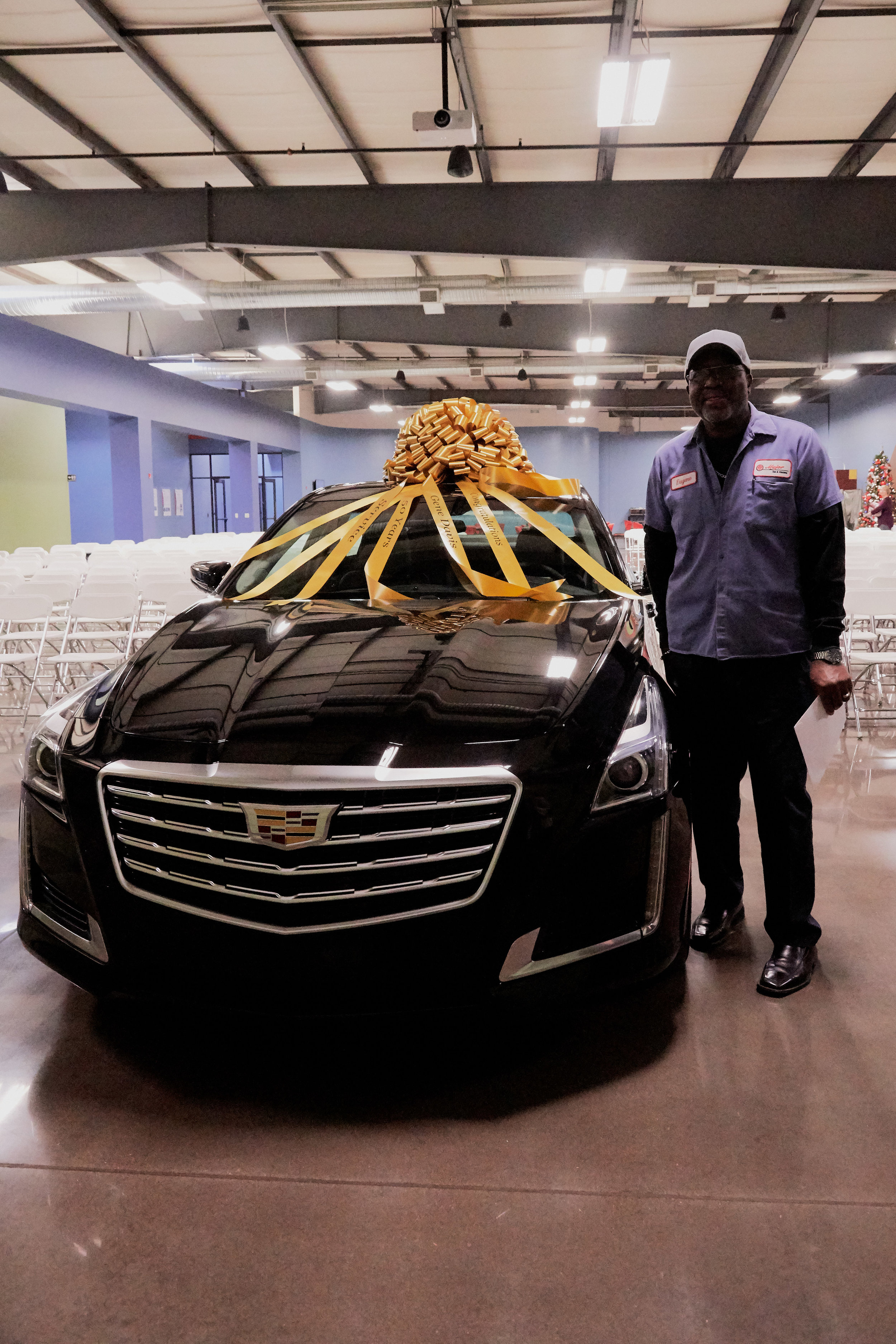 Receiving a Cadillac for 50 years of service