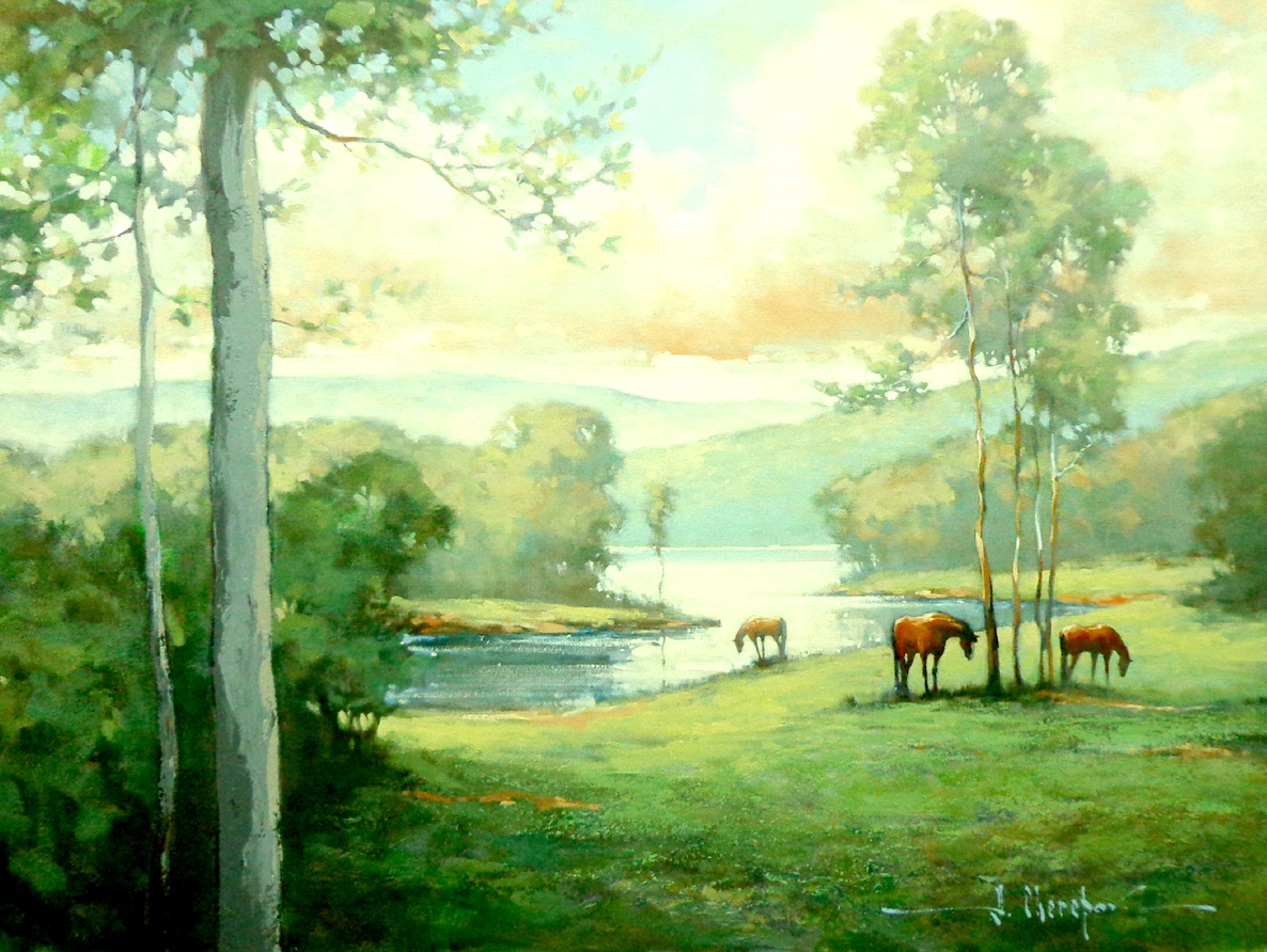 The Three Horses and River 30x40