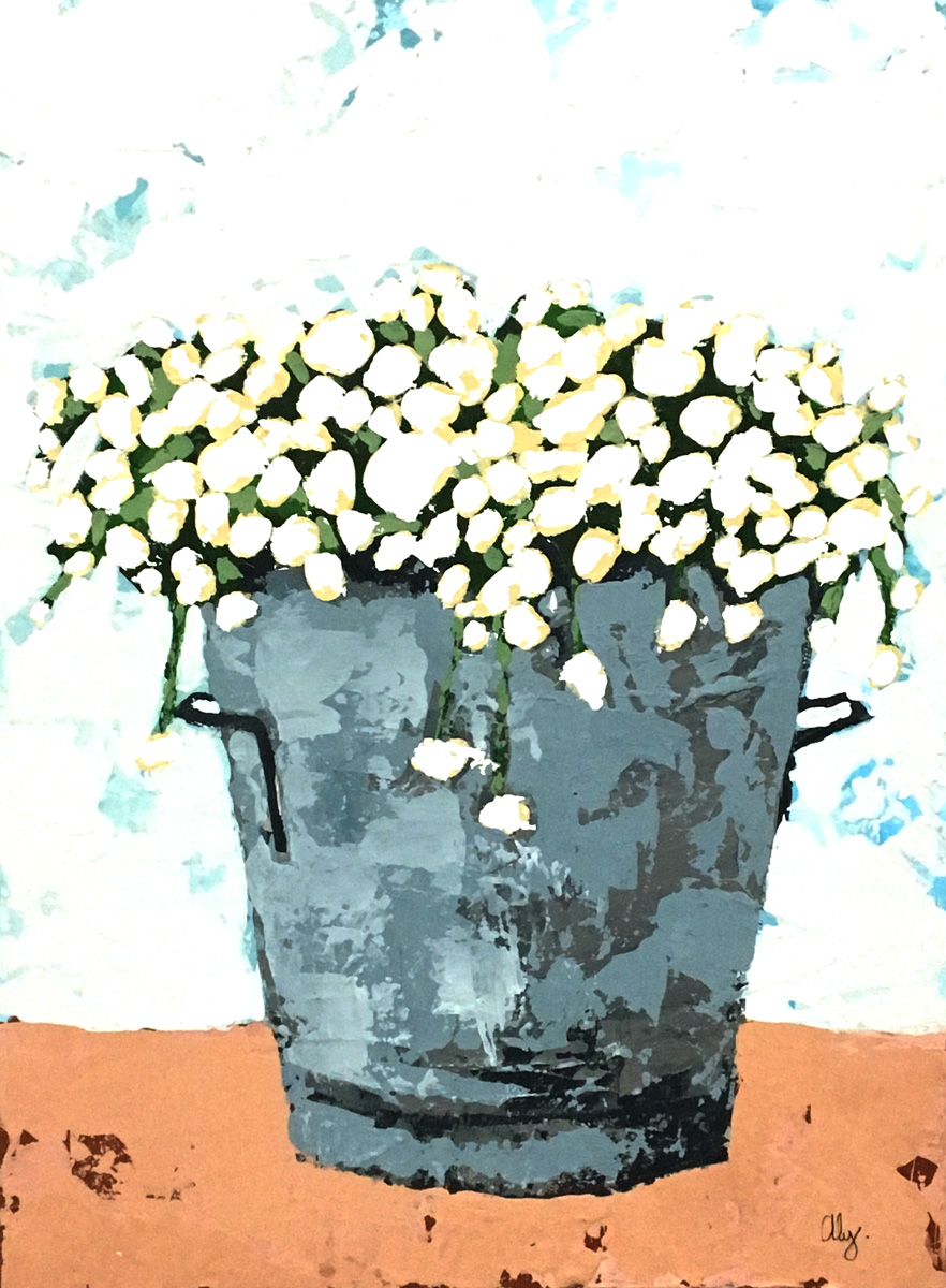 Flowers in a Pail 6x6