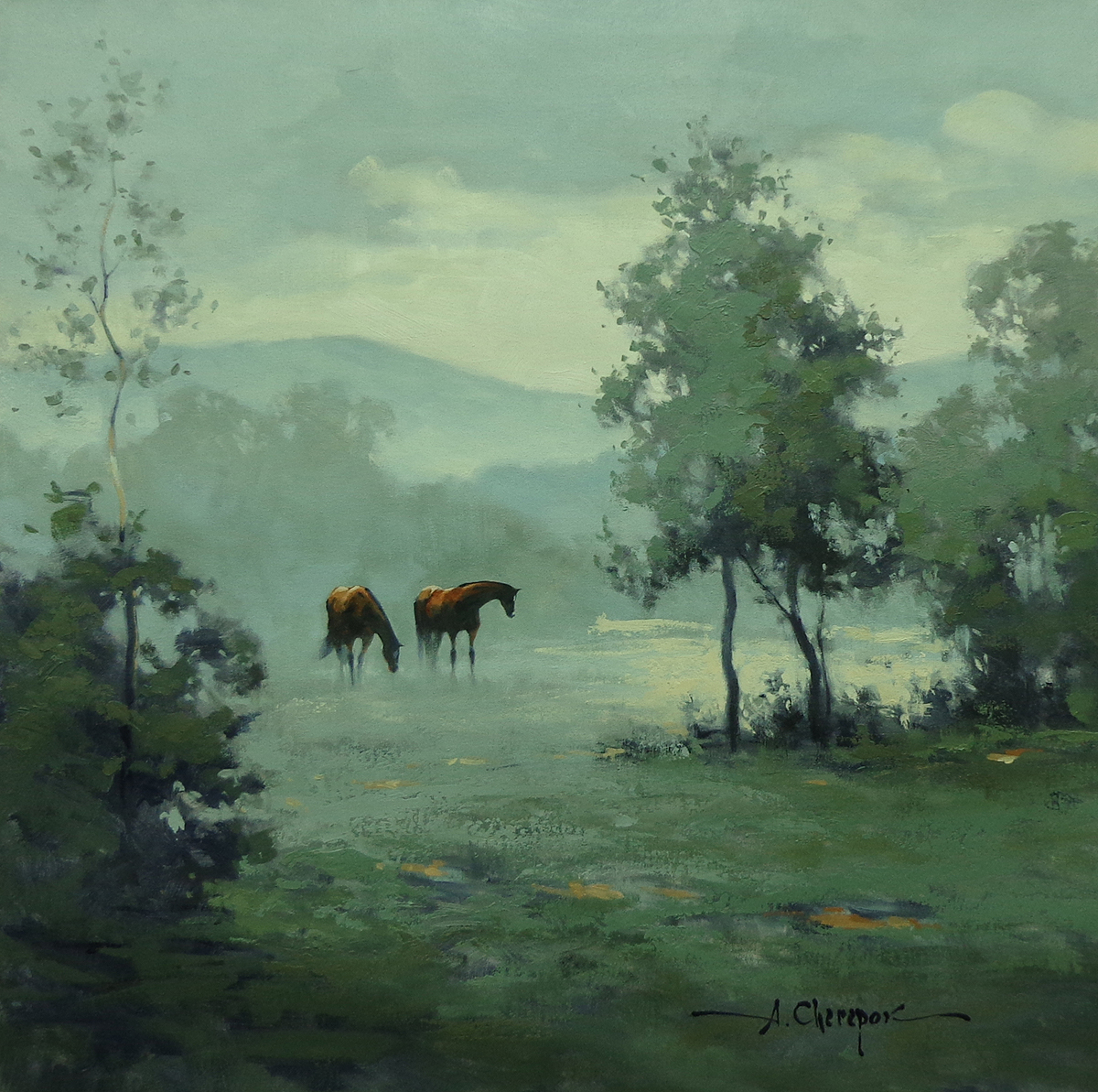 In the Morning Fog 30x30