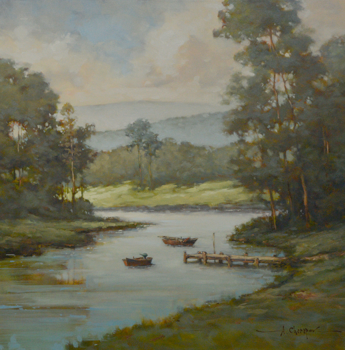 Blue River and Blue Sky 36x36