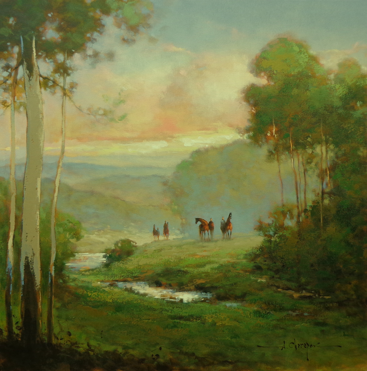 By the Path at Sunset 40x40