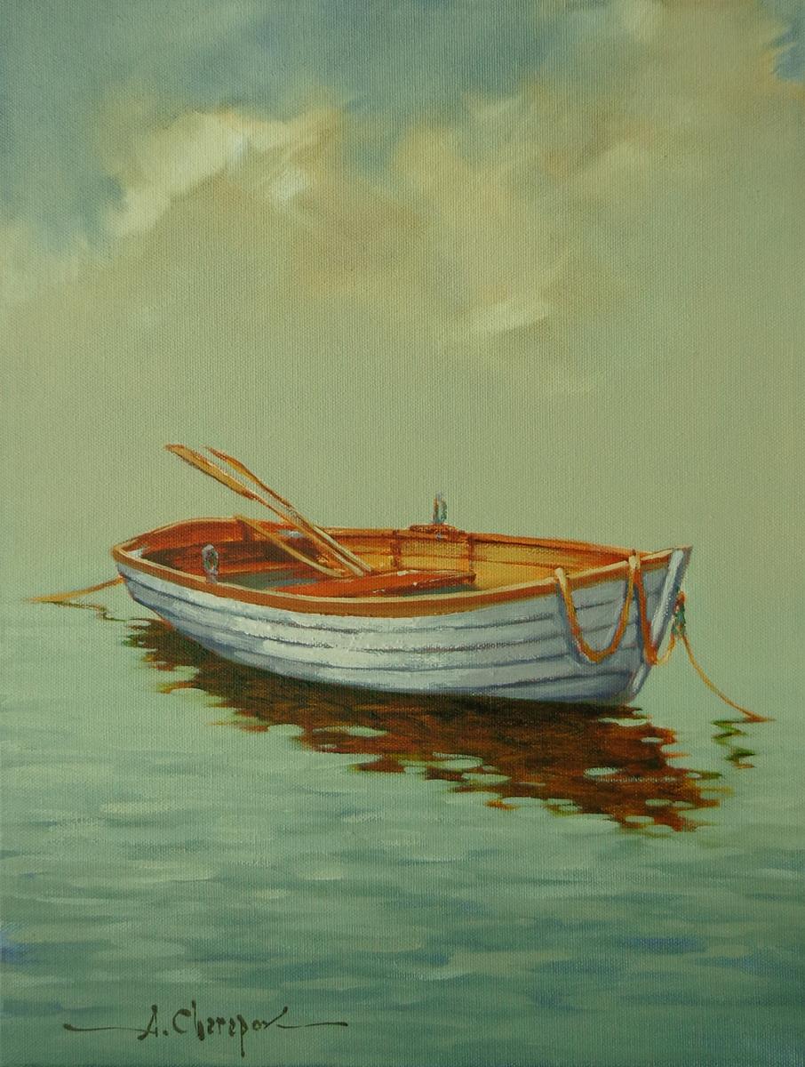 White Row Boat 12x16