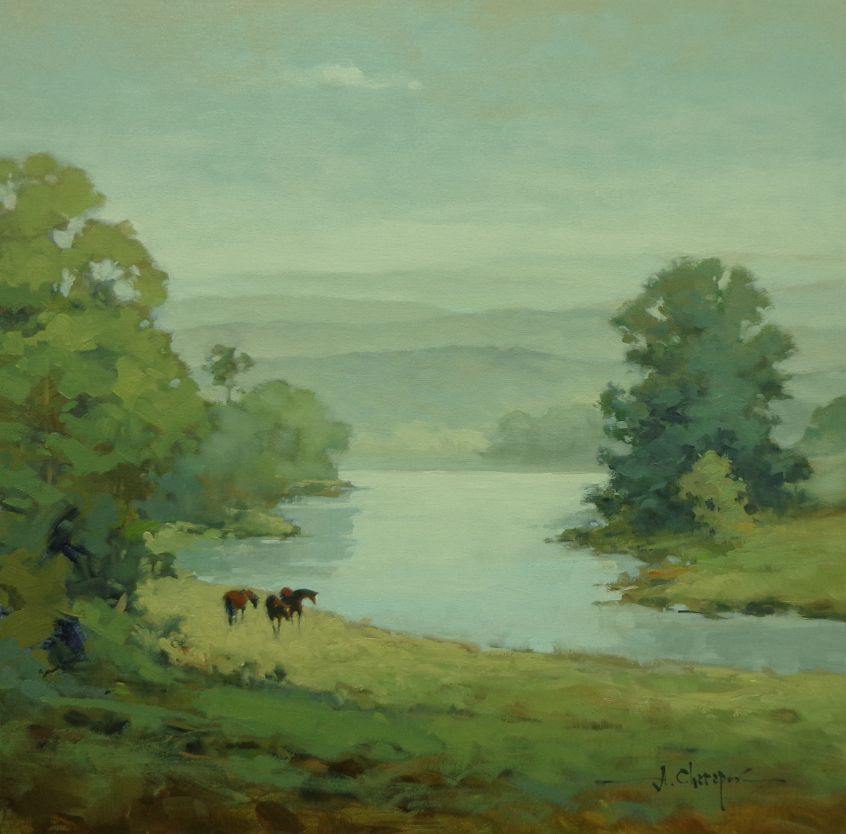 Morning on the Tennessee River|30x30