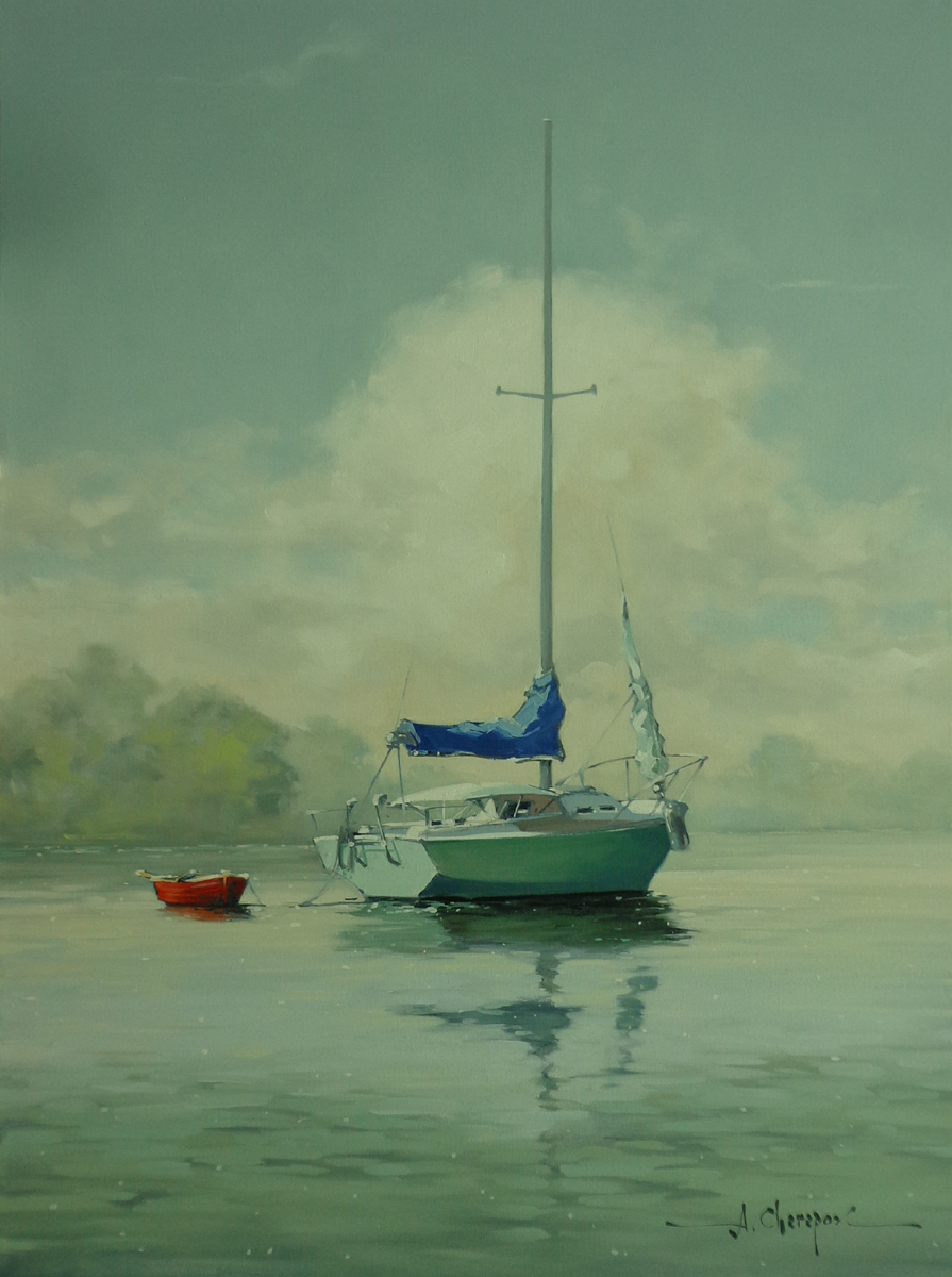Red Boat and Green Sailboat|30x40