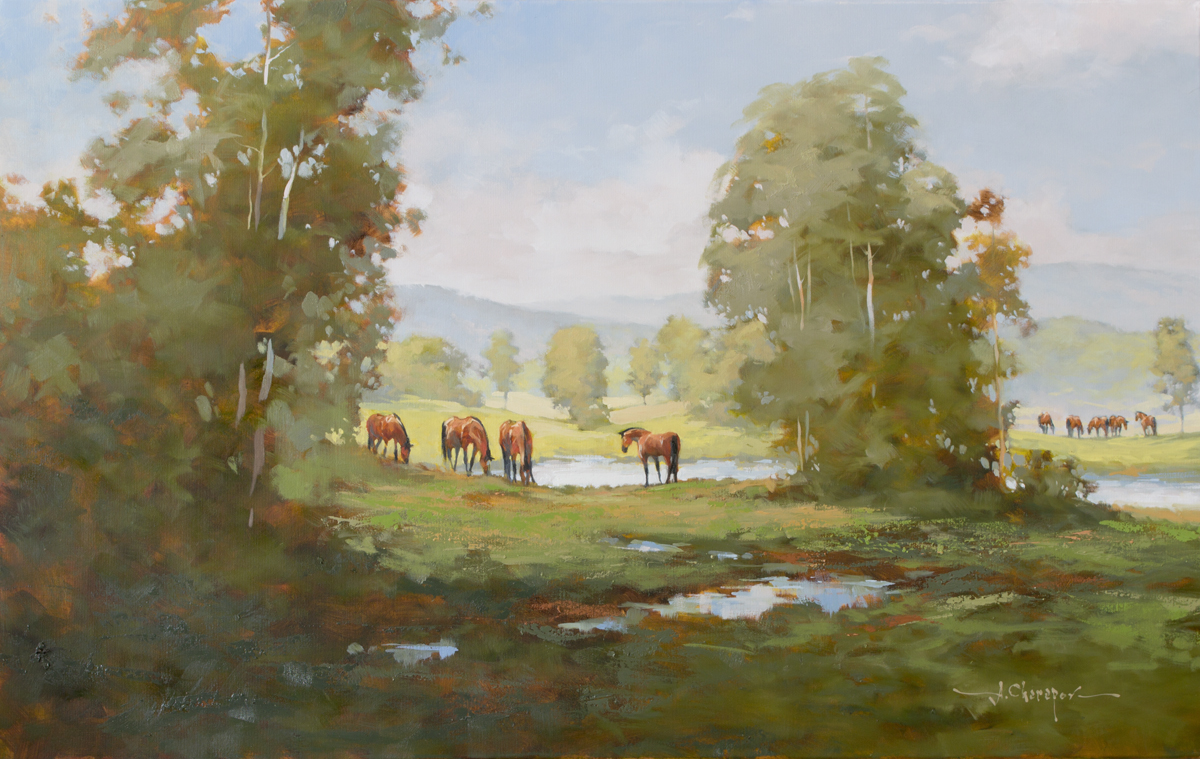 Grazing by the Stream|30x48
